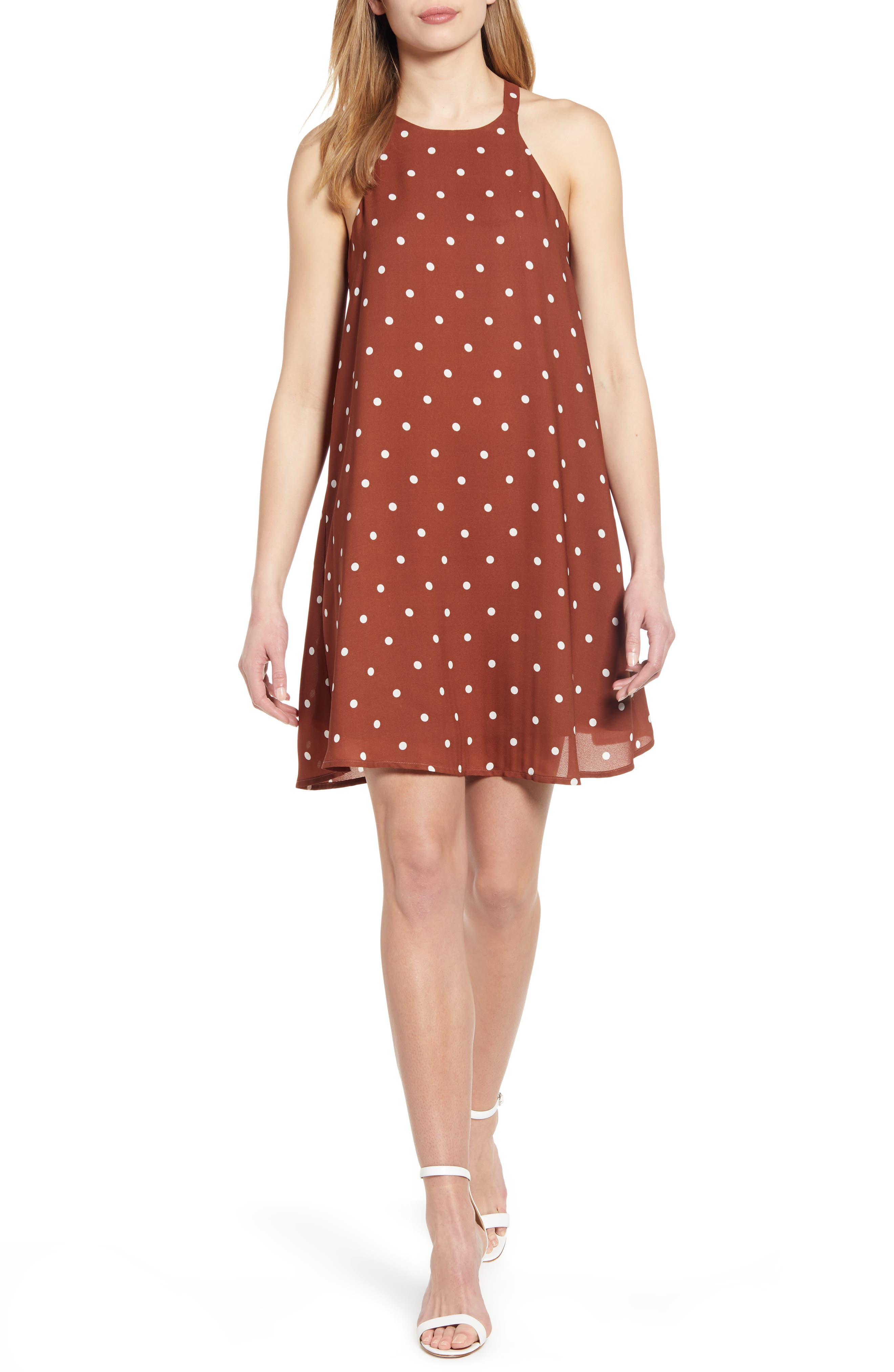 GIBSON x Hi Sugarplum! Naples Swing Halter Dress, Main, color, BROWN DOT