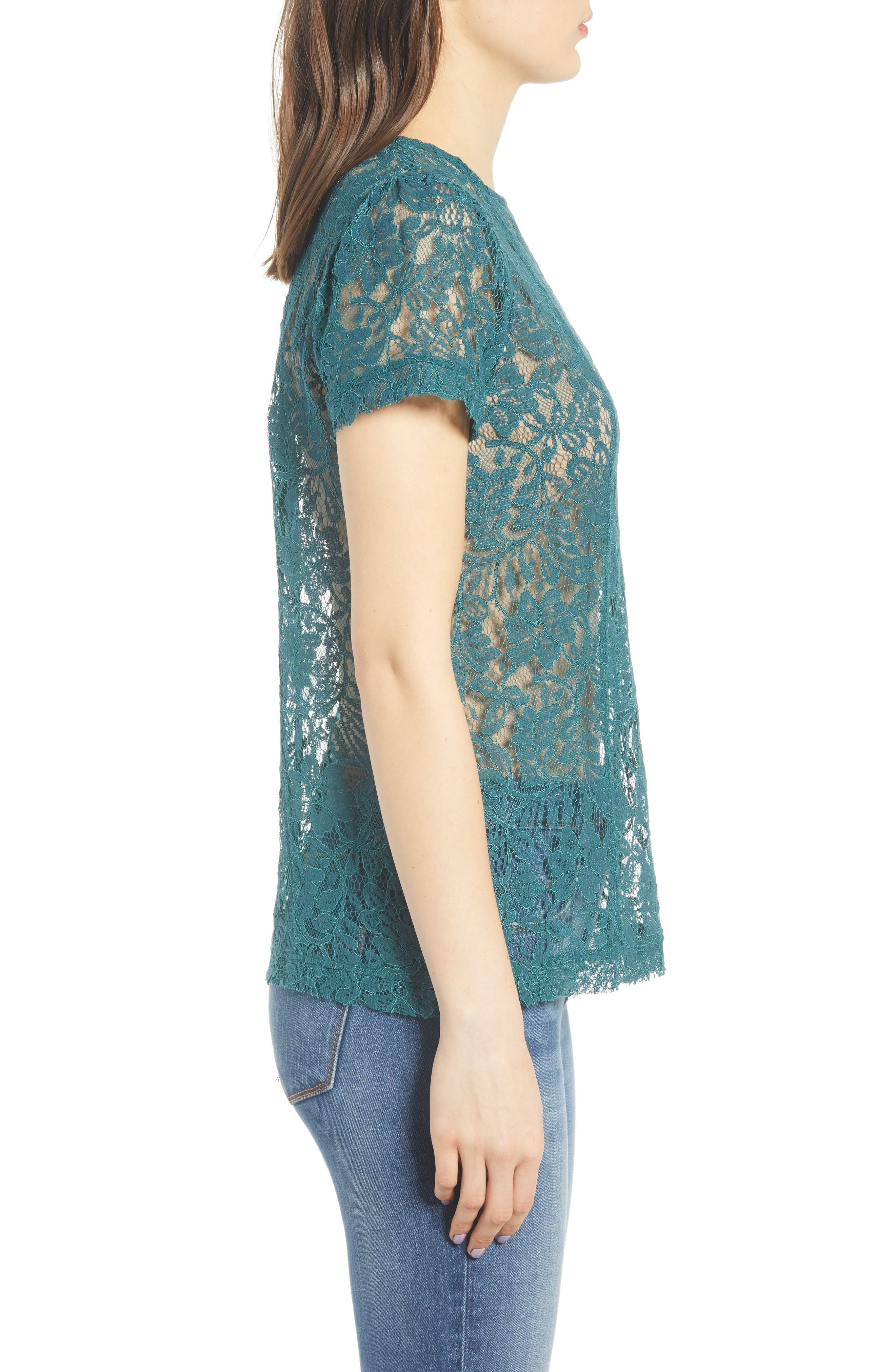 CHELSEA28, Lace Top, Alternate thumbnail 3, color, TEAL BALSAM