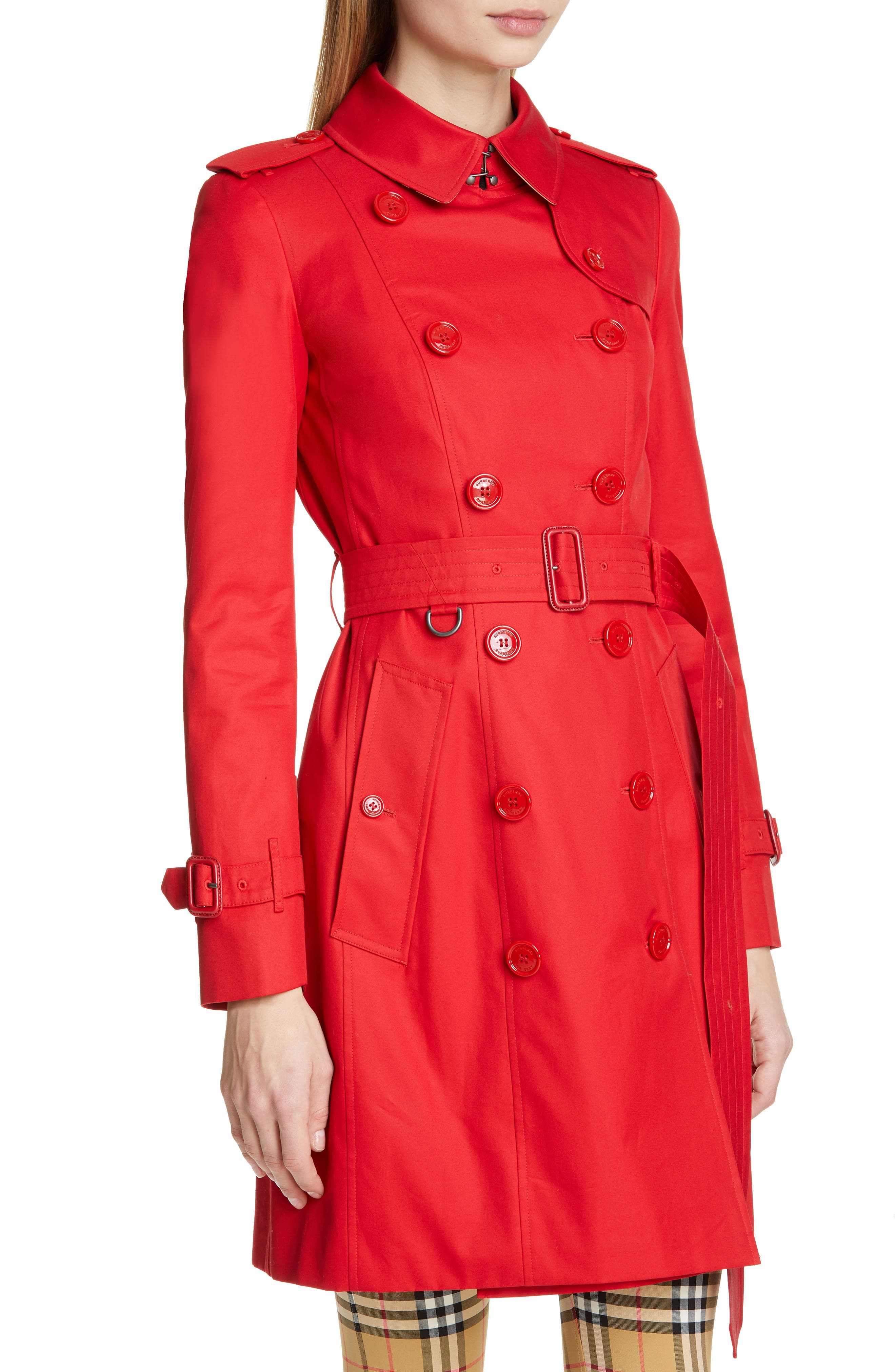 BURBERRY, The Chelsea Cotton Gabardine Trench Coat, Alternate thumbnail 5, color, BRIGHT RED