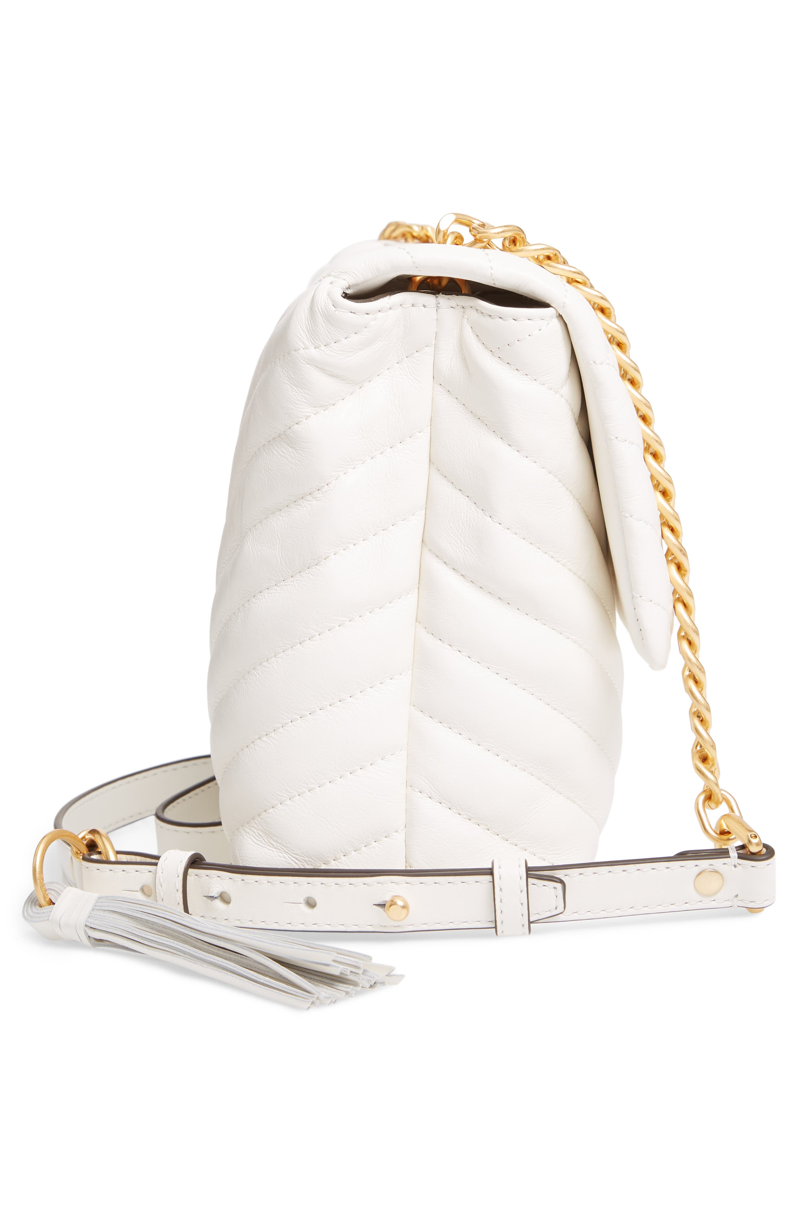 TORY BURCH, Kira Chevron Quilted Leather Shoulder Bag, Alternate thumbnail 6, color, NEW IVORY