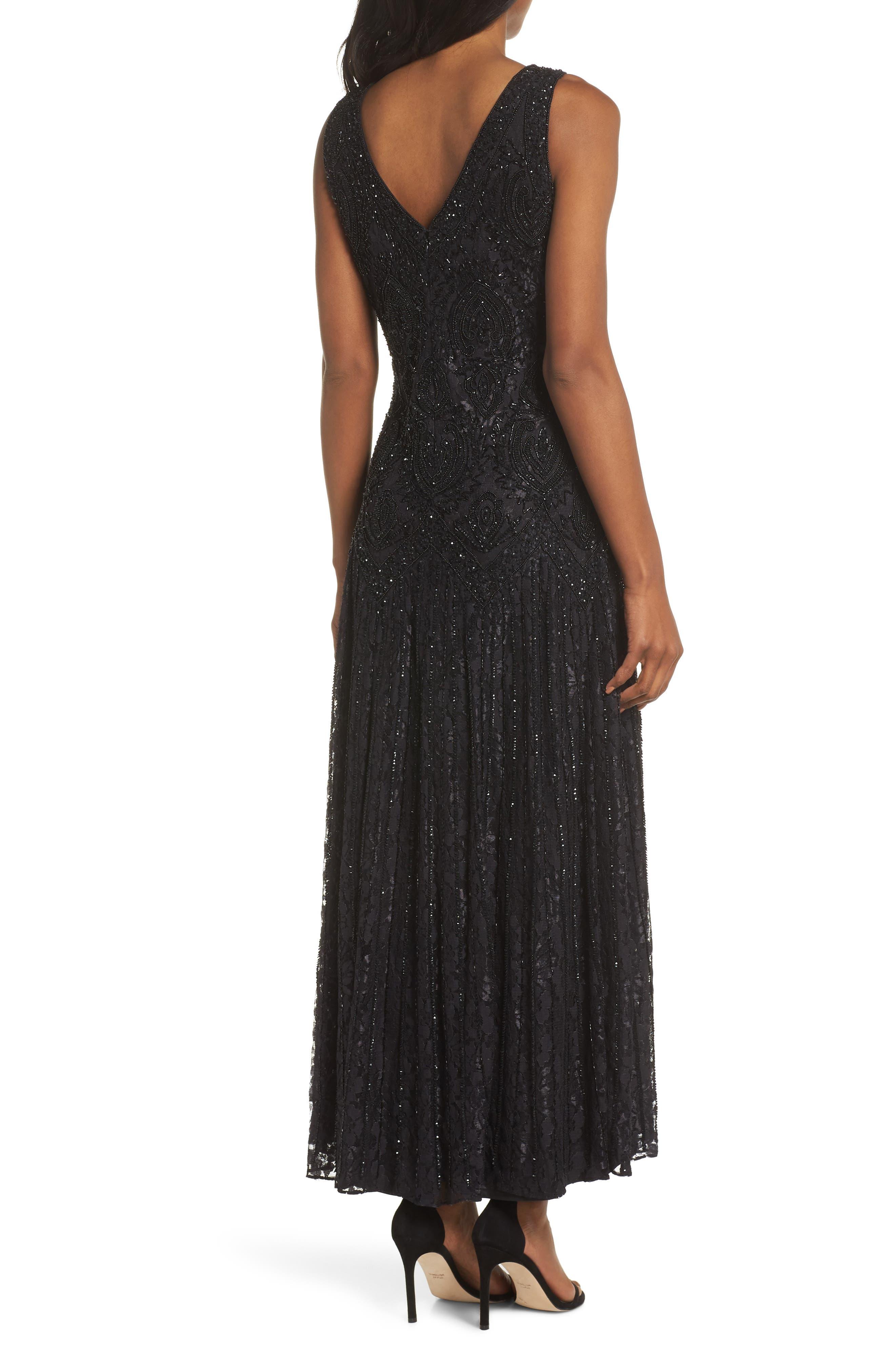 PISARRO NIGHTS, Beaded Lace Evening Dress with Bolero, Alternate thumbnail 5, color, BLACK