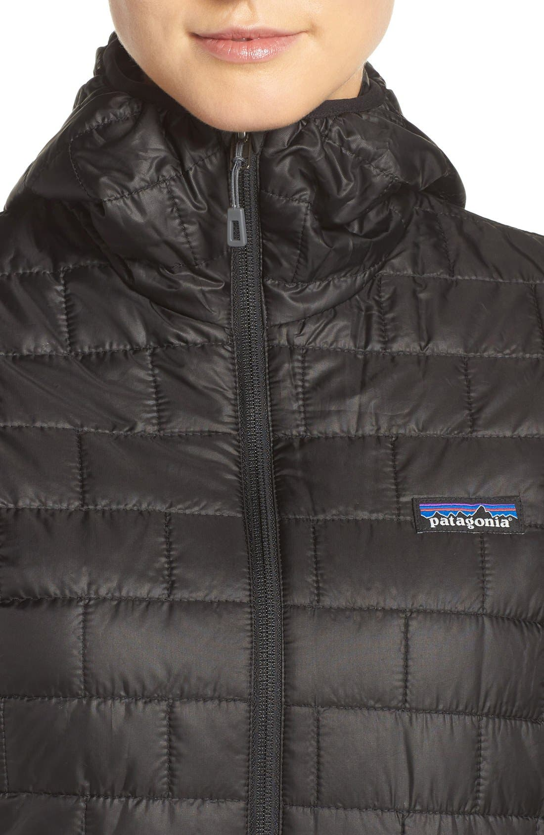 PATAGONIA, Nano Puff<sup>®</sup> Hooded Water Resistant Jacket, Alternate thumbnail 6, color, BLACK