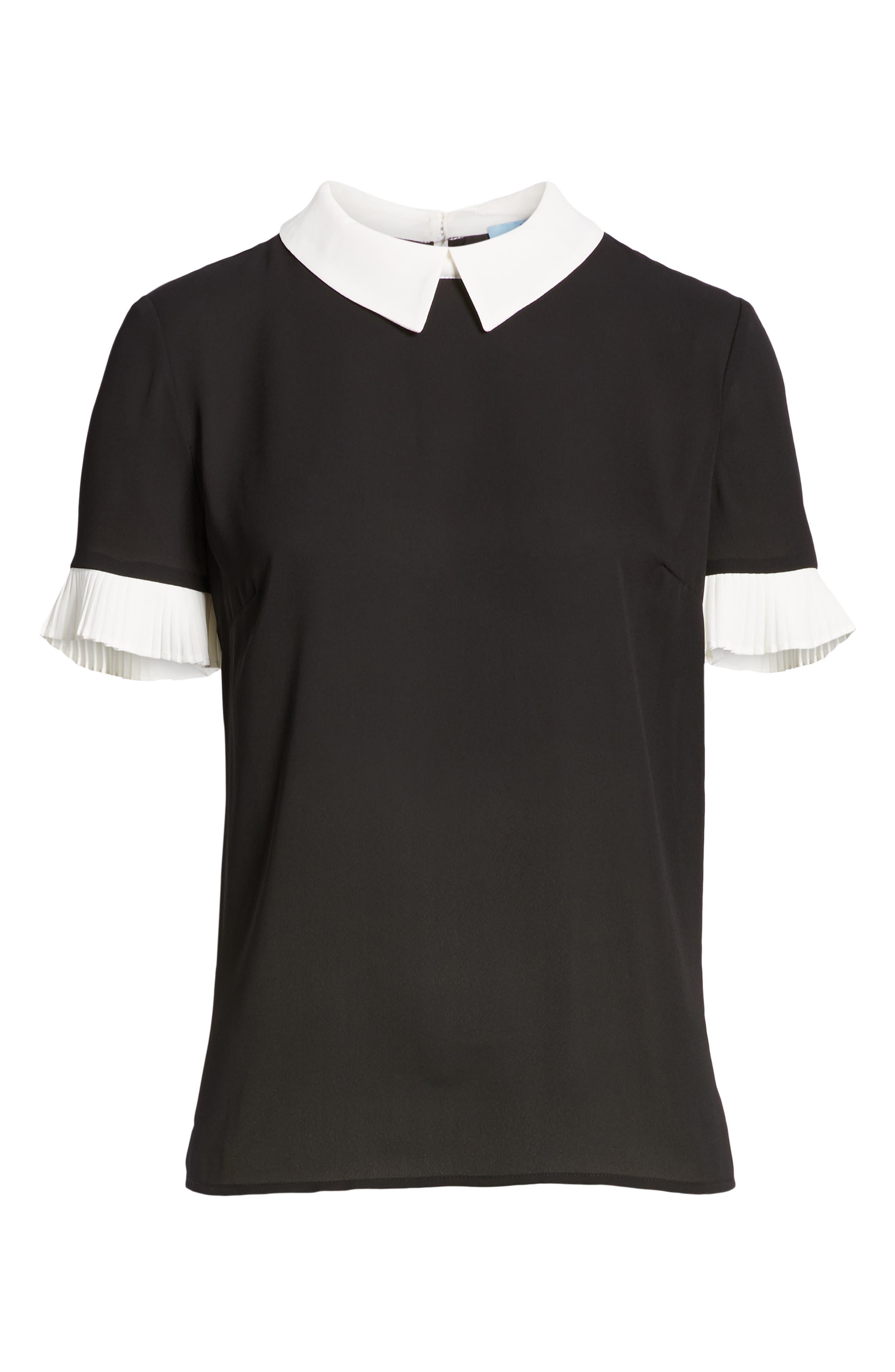 CECE Pleat Sleeve Collared Crepe Blouse, Alternate, color, RICH BLACK
