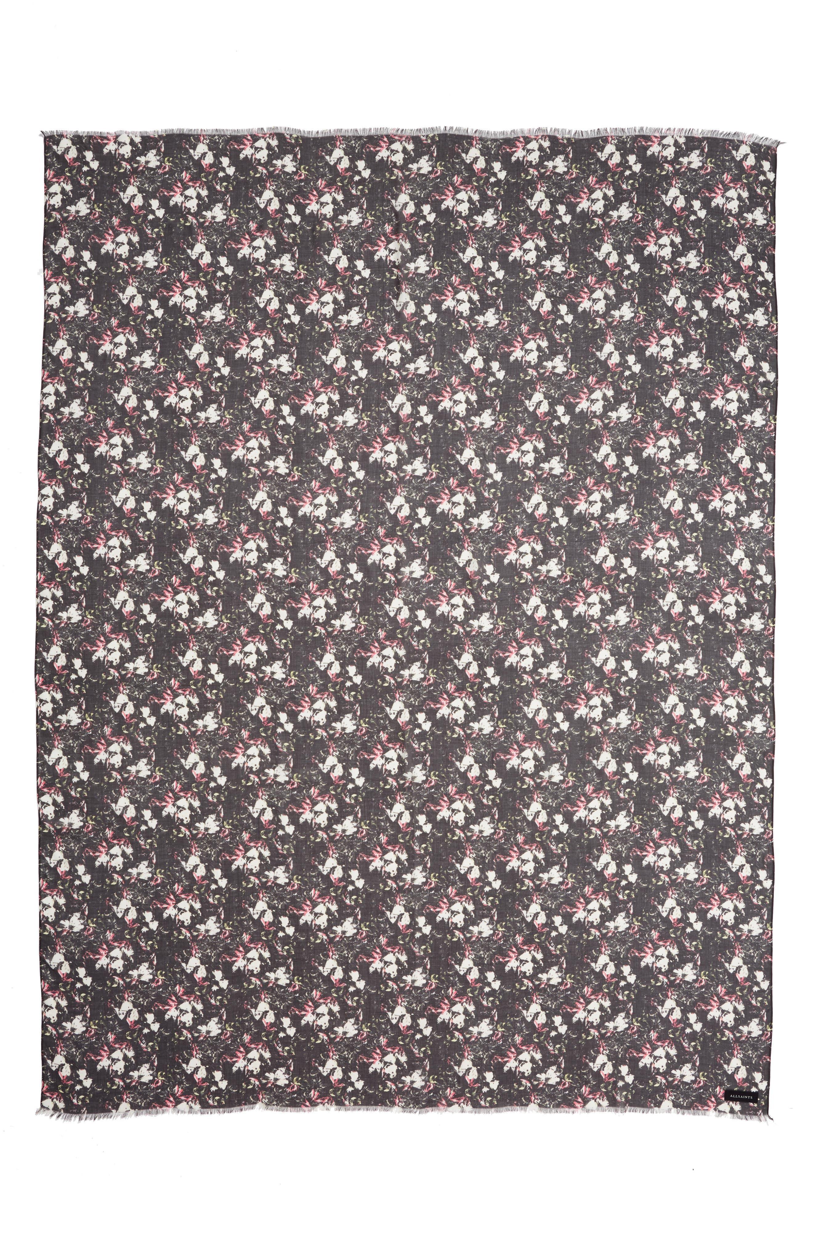 ALLSAINTS, Stella Floral Print Scarf, Alternate thumbnail 3, color, BLACK