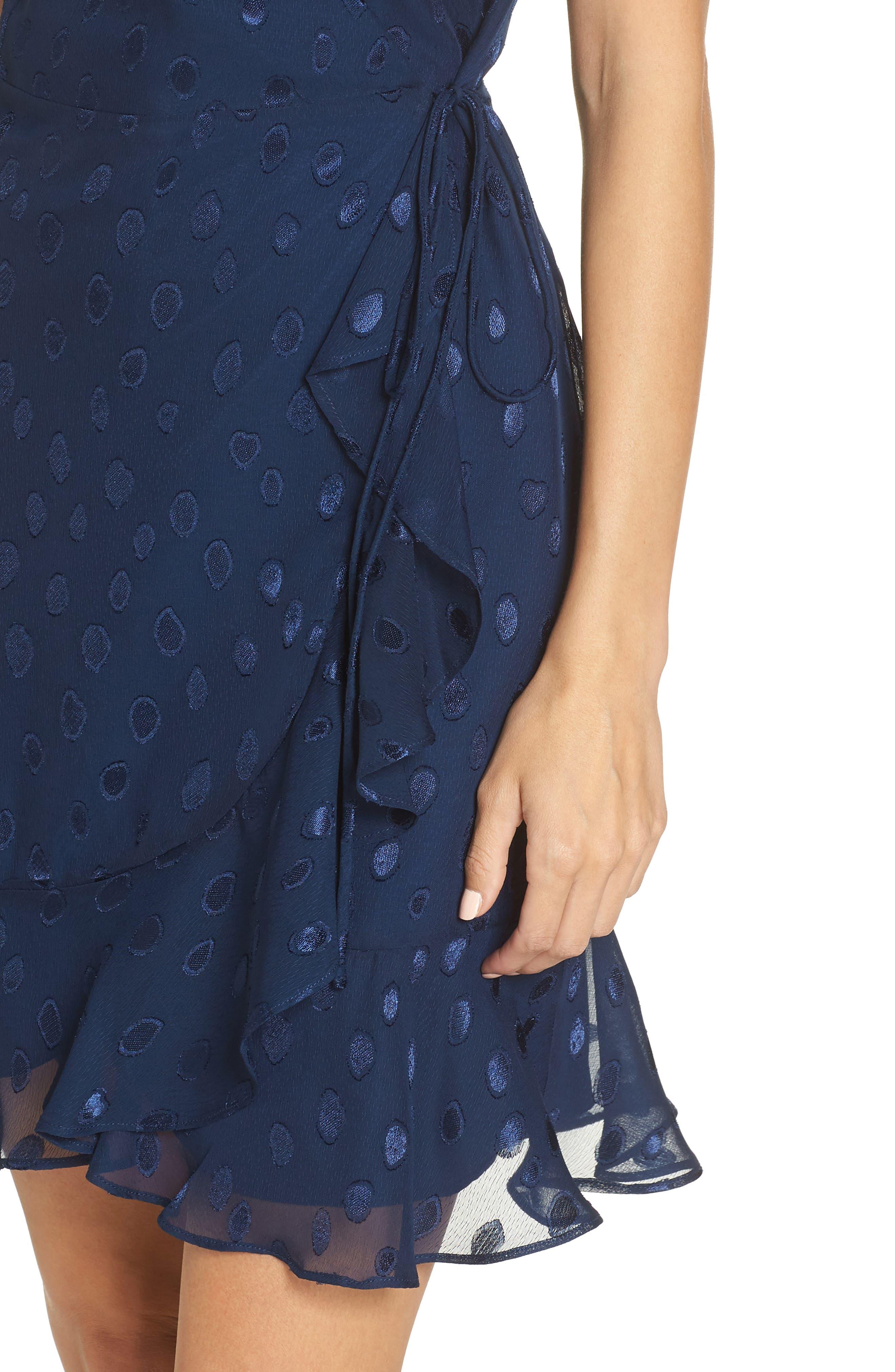 CHARLES HENRY, Wrap Chiffon Jacquard Minidress, Alternate thumbnail 5, color, 400