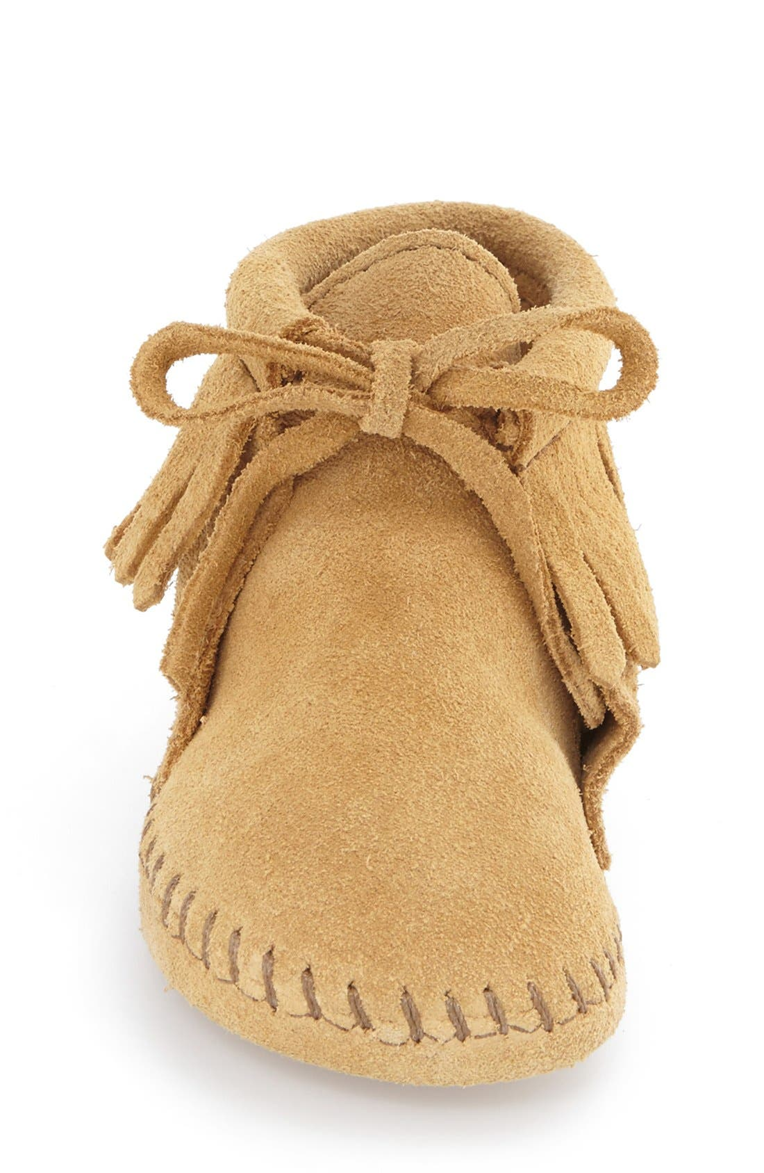 MINNETONKA, Fringe Bootie, Alternate thumbnail 4, color, TAN SUEDE