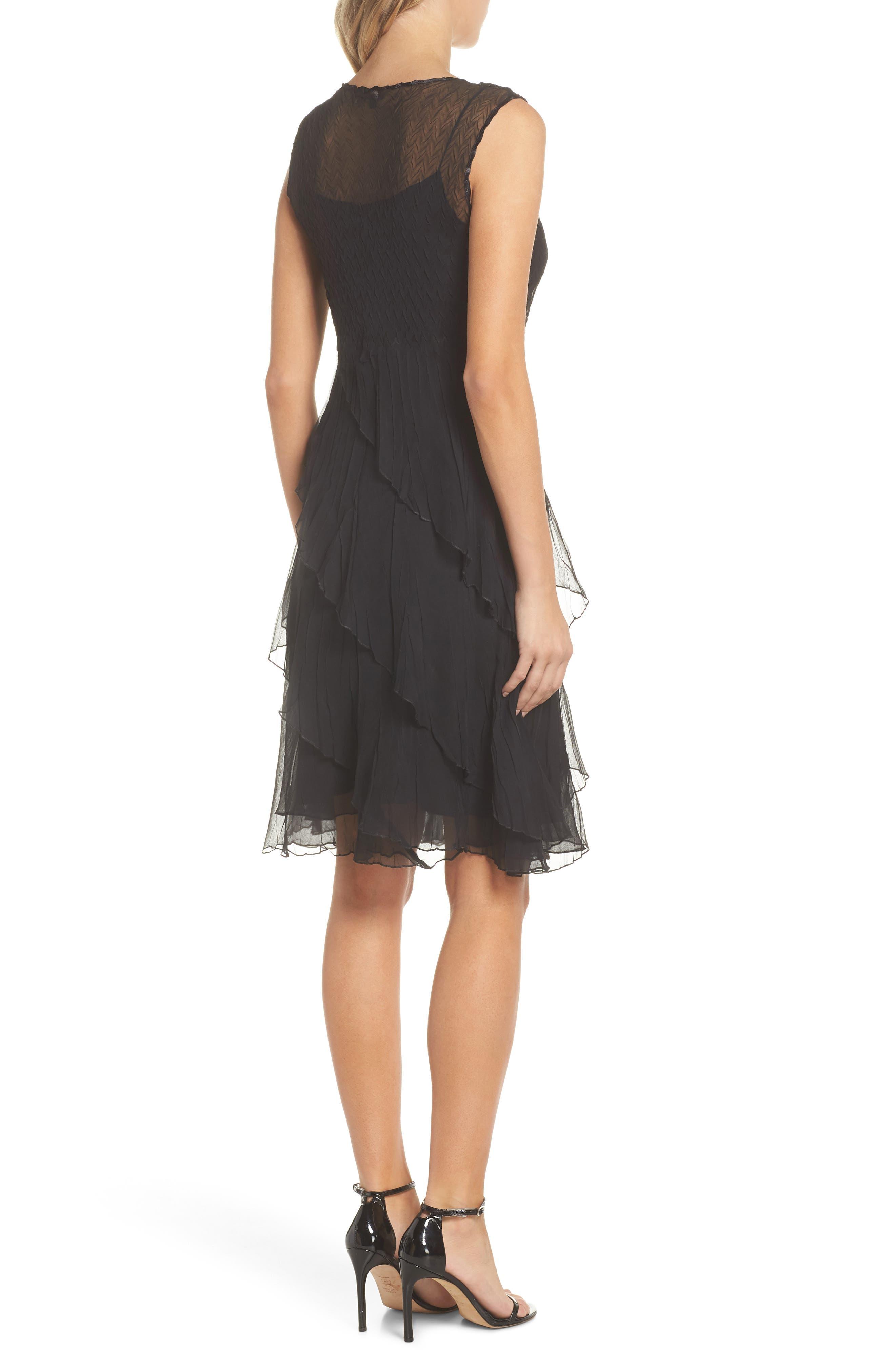 KOMAROV, Bead Trim Chiffon Dress with Wrap, Alternate thumbnail 2, color, BLACK