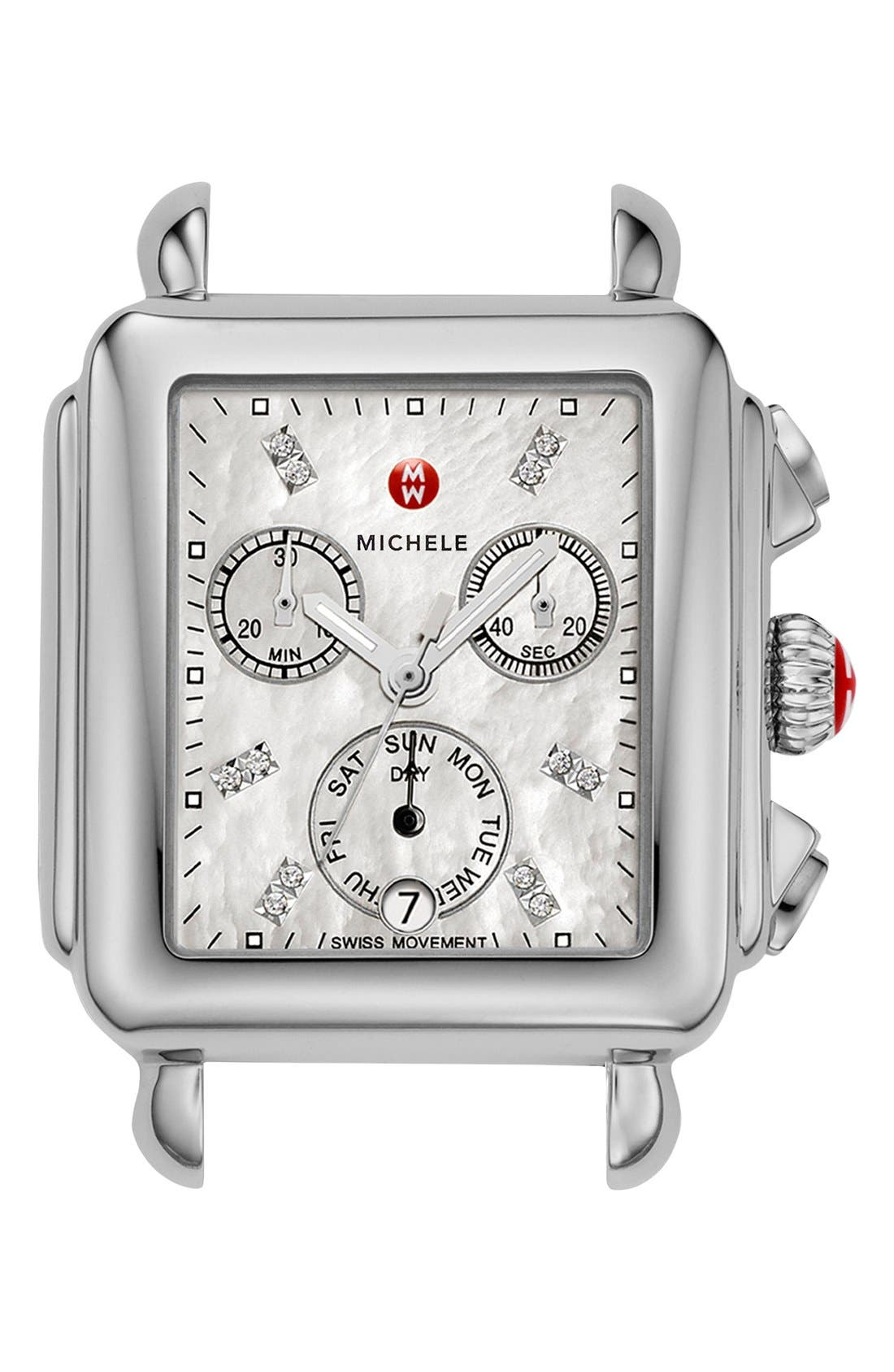 MICHELE Deco Diamond Dial Watch Case, 33mm x 35mm, Main, color, SILVER