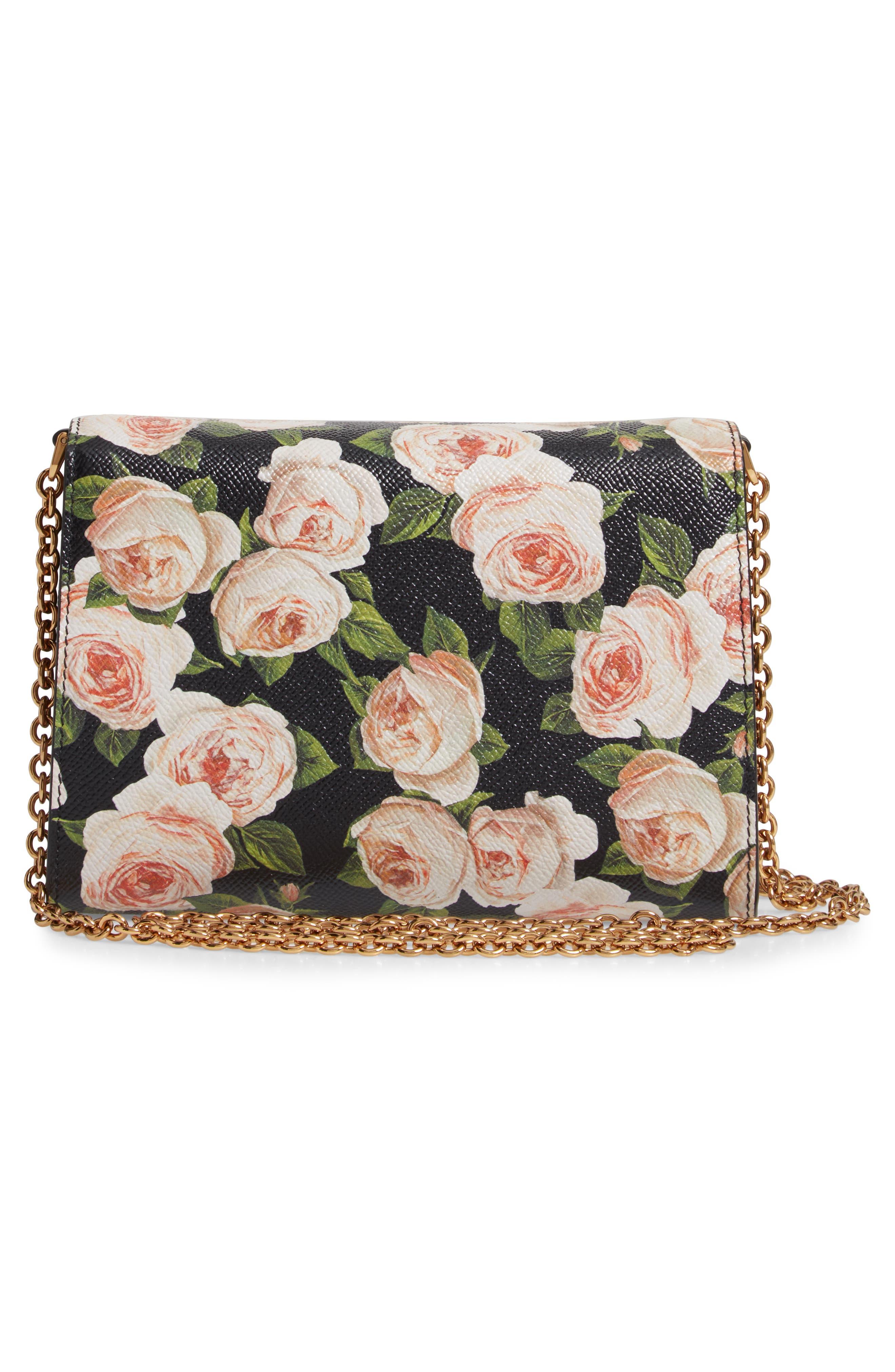 DOLCE&GABBANA, Rose Print Calfskin Leather Shoulder Bag, Alternate thumbnail 3, color, NERO/ ROSE