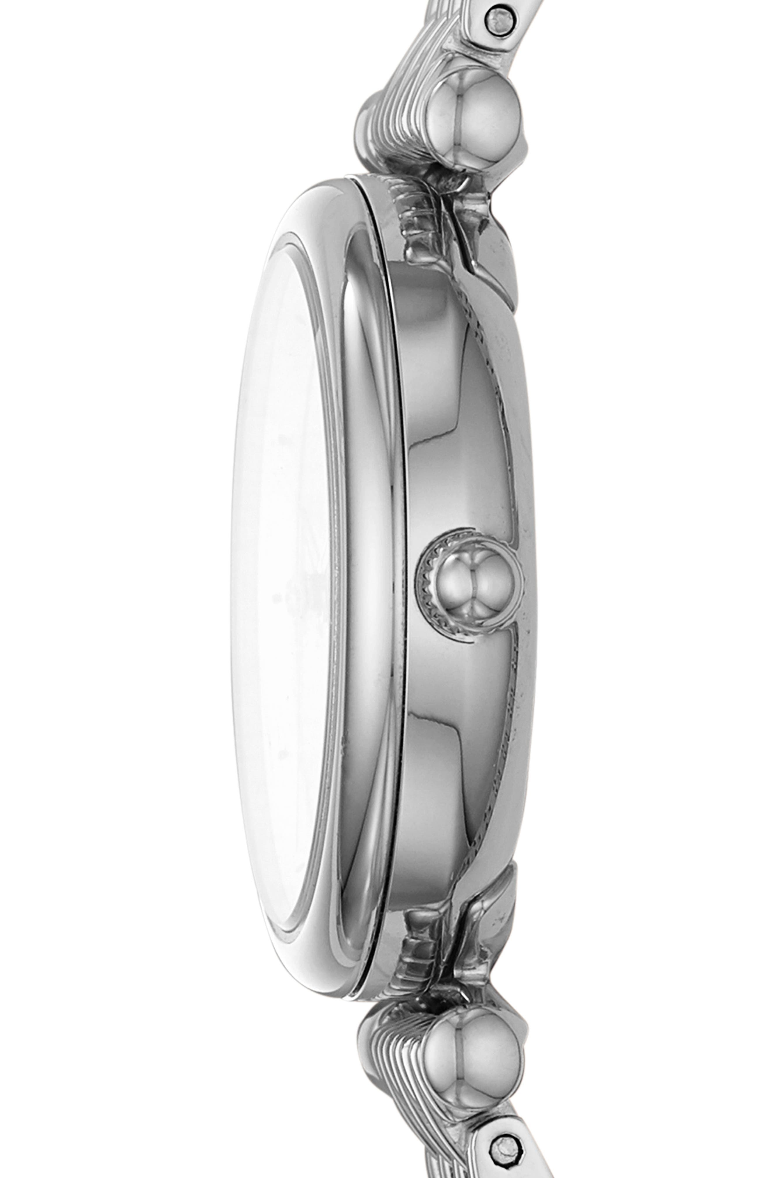 FOSSIL, Mini Carlie Bracelet Watch, 29mm, Alternate thumbnail 2, color, SILVER/MOTHER PEARL/SILVER