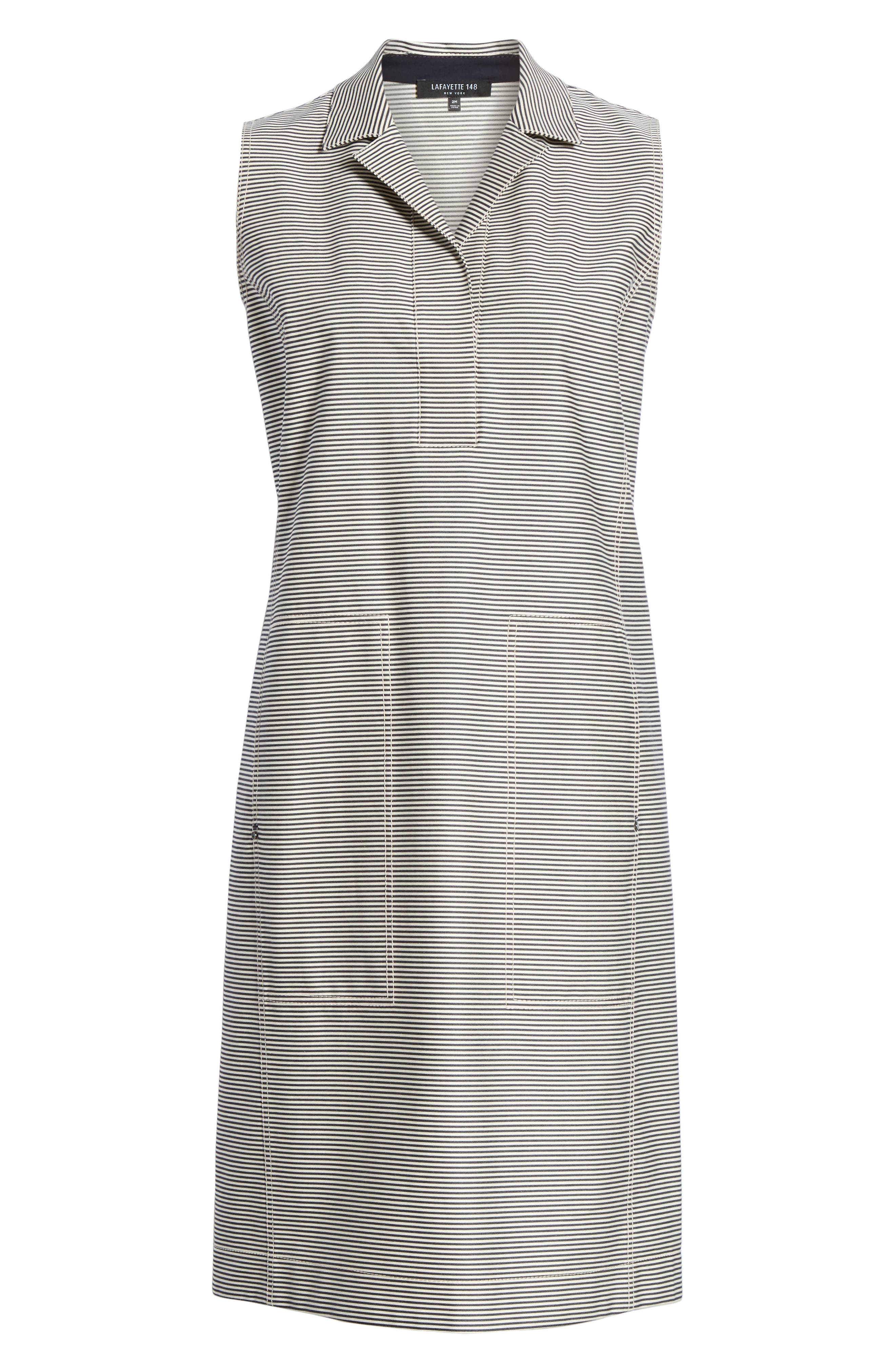 LAFAYETTE 148 NEW YORK, Rudy Stripe Shift Dress, Alternate thumbnail 6, color, INK MULTI