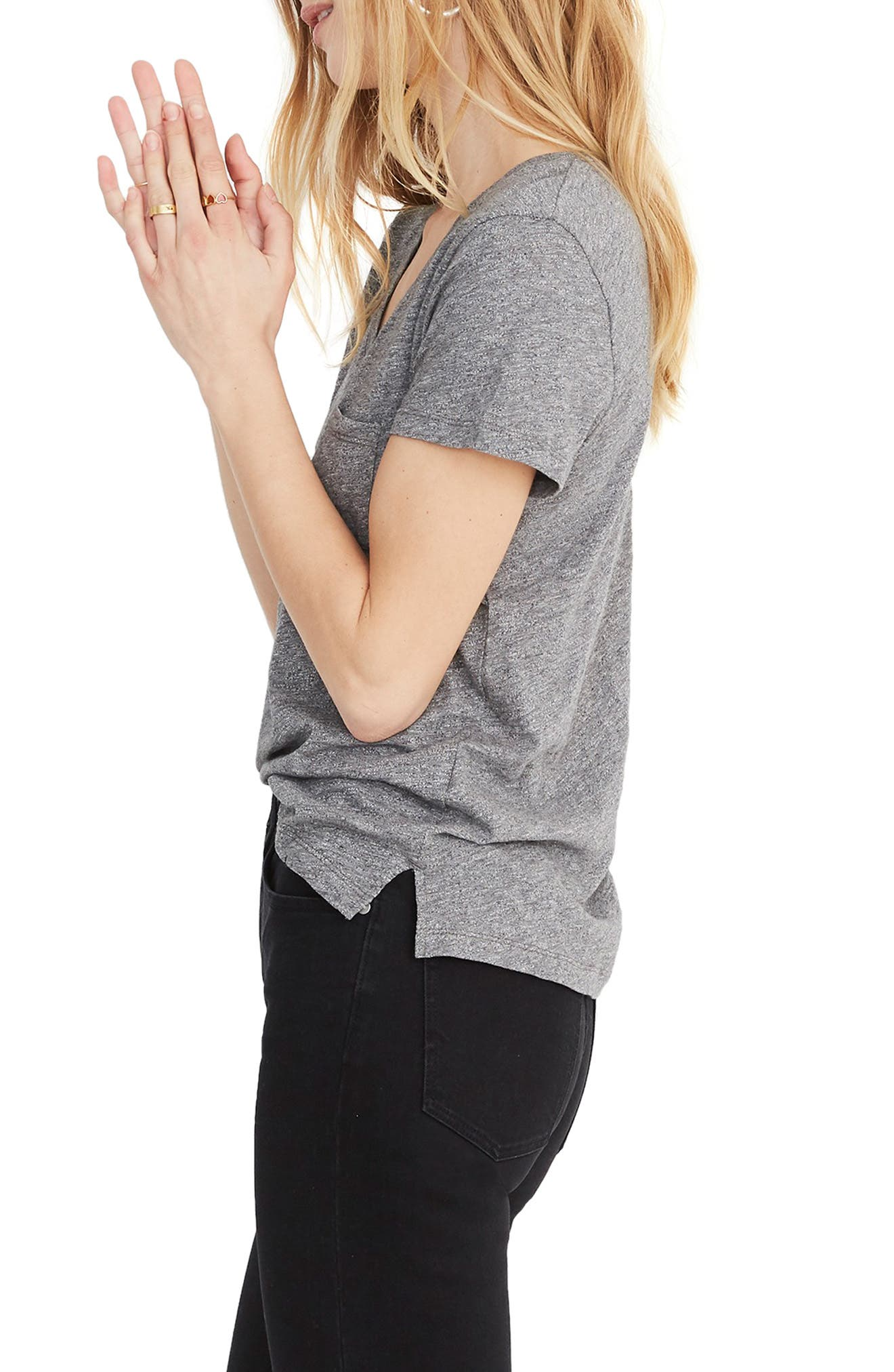 MADEWELL, Whisper Cotton V-Neck Pocket Tee, Alternate thumbnail 4, color, HEATHER MERCURY