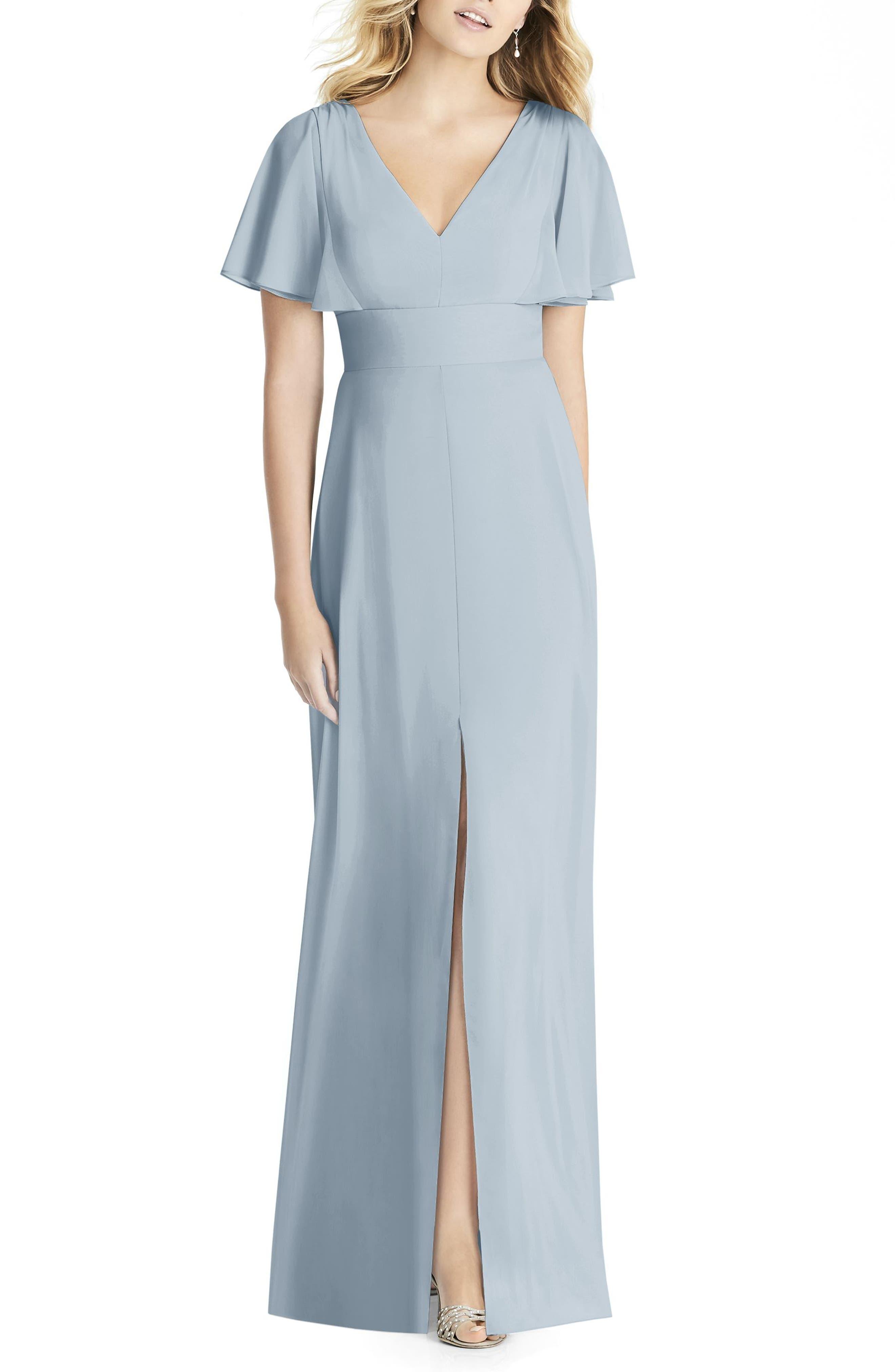 Social Bridesmaids Split Sleeve Chiffon Gown, Blue