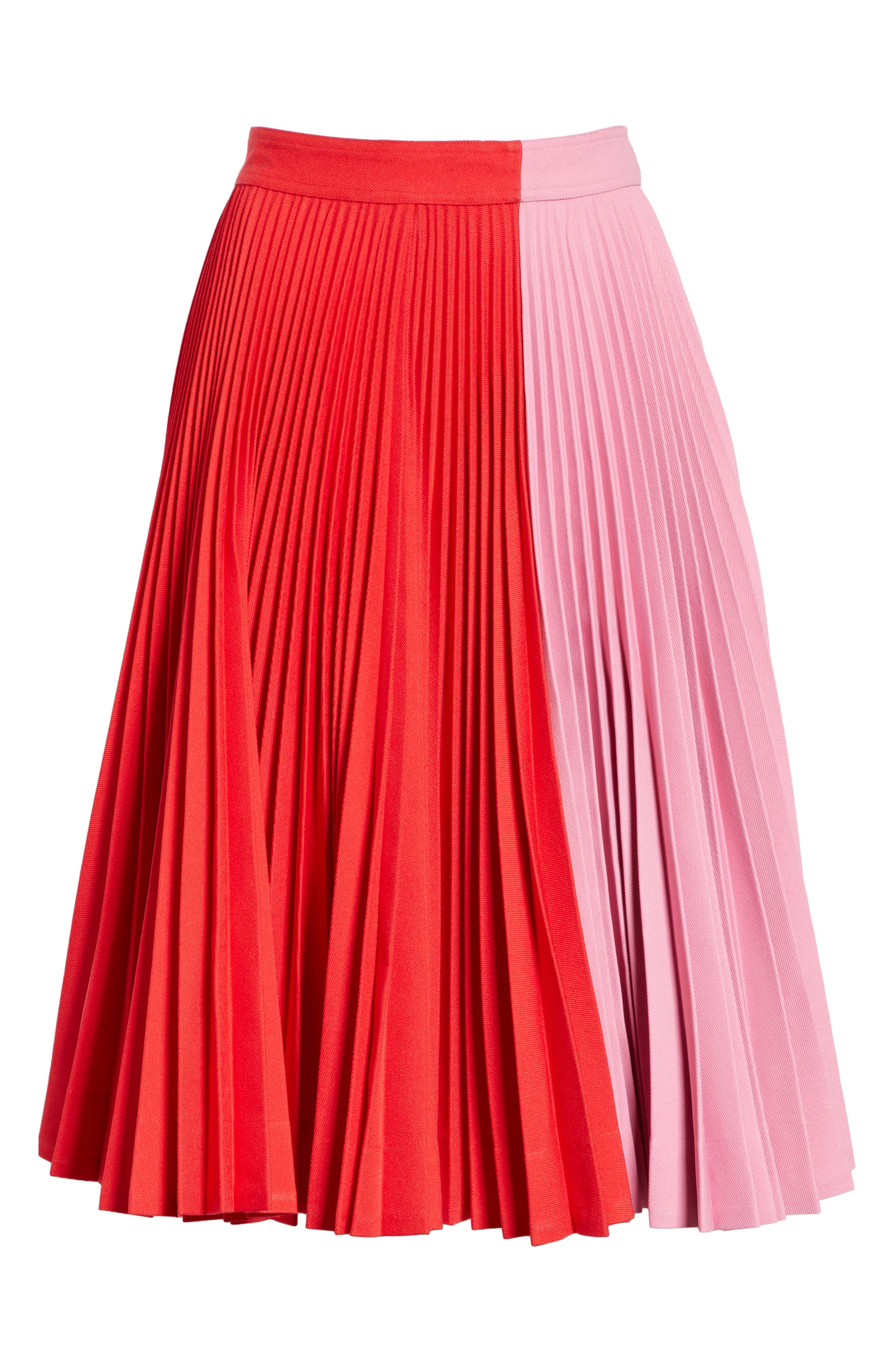 CALVIN KLEIN 205W39NYC, Bicolor Pleated Skirt, Alternate thumbnail 6, color, SCARLET ANEMONE