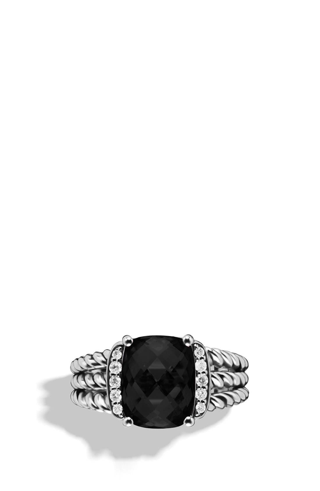 DAVID YURMAN, 'Wheaton' Petite Ring with Semiprecious Stone & Diamonds, Alternate thumbnail 3, color, BLACK ONYX