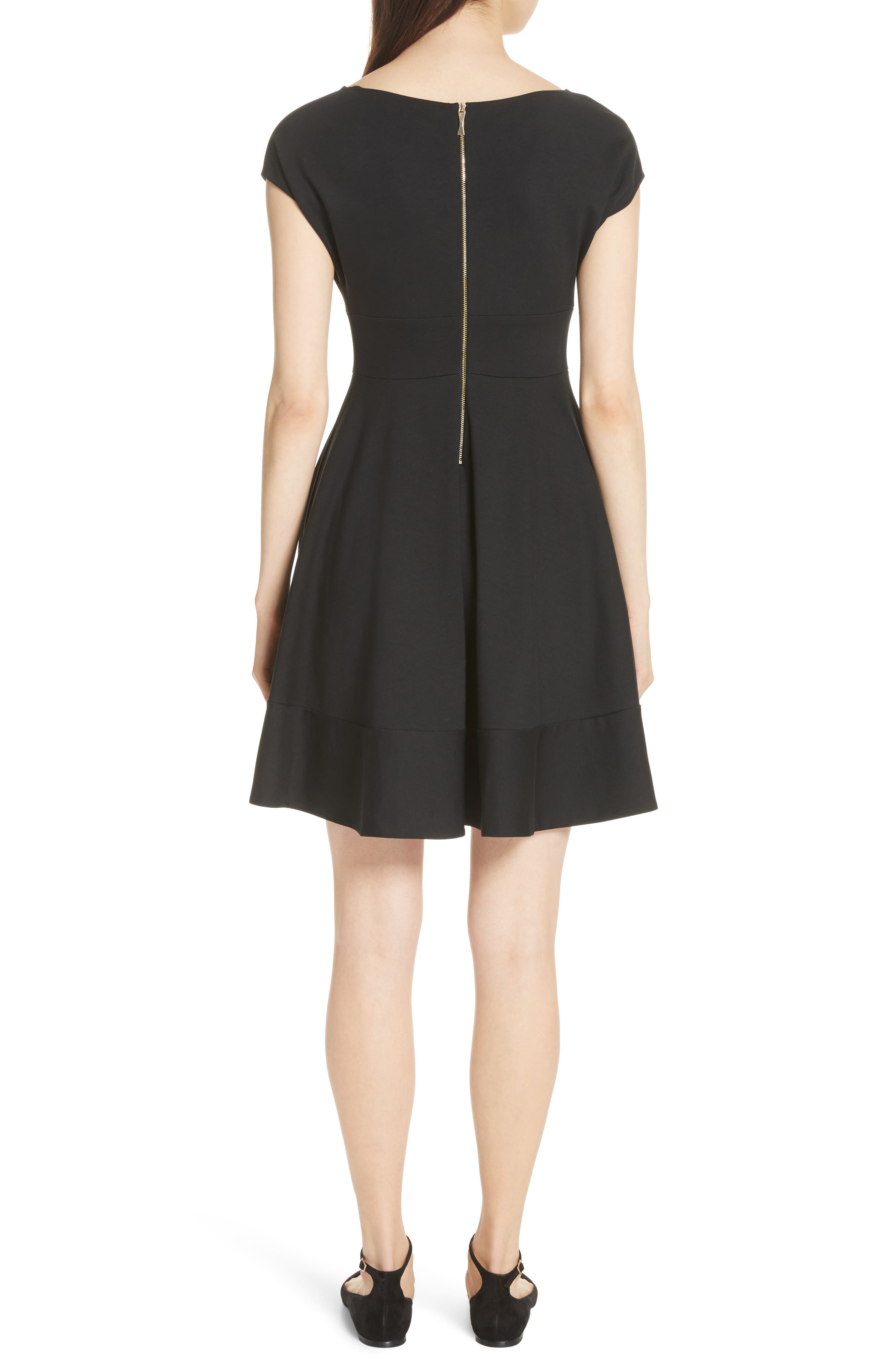 KATE SPADE NEW YORK, ponte fiorella fit & flare dress, Alternate thumbnail 2, color, BLACK