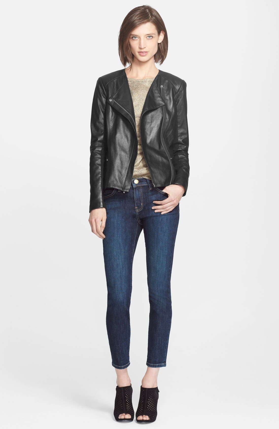 VEDA, 'Aires' Asymmetrical Zip Leather Jacket, Alternate thumbnail 6, color, 001