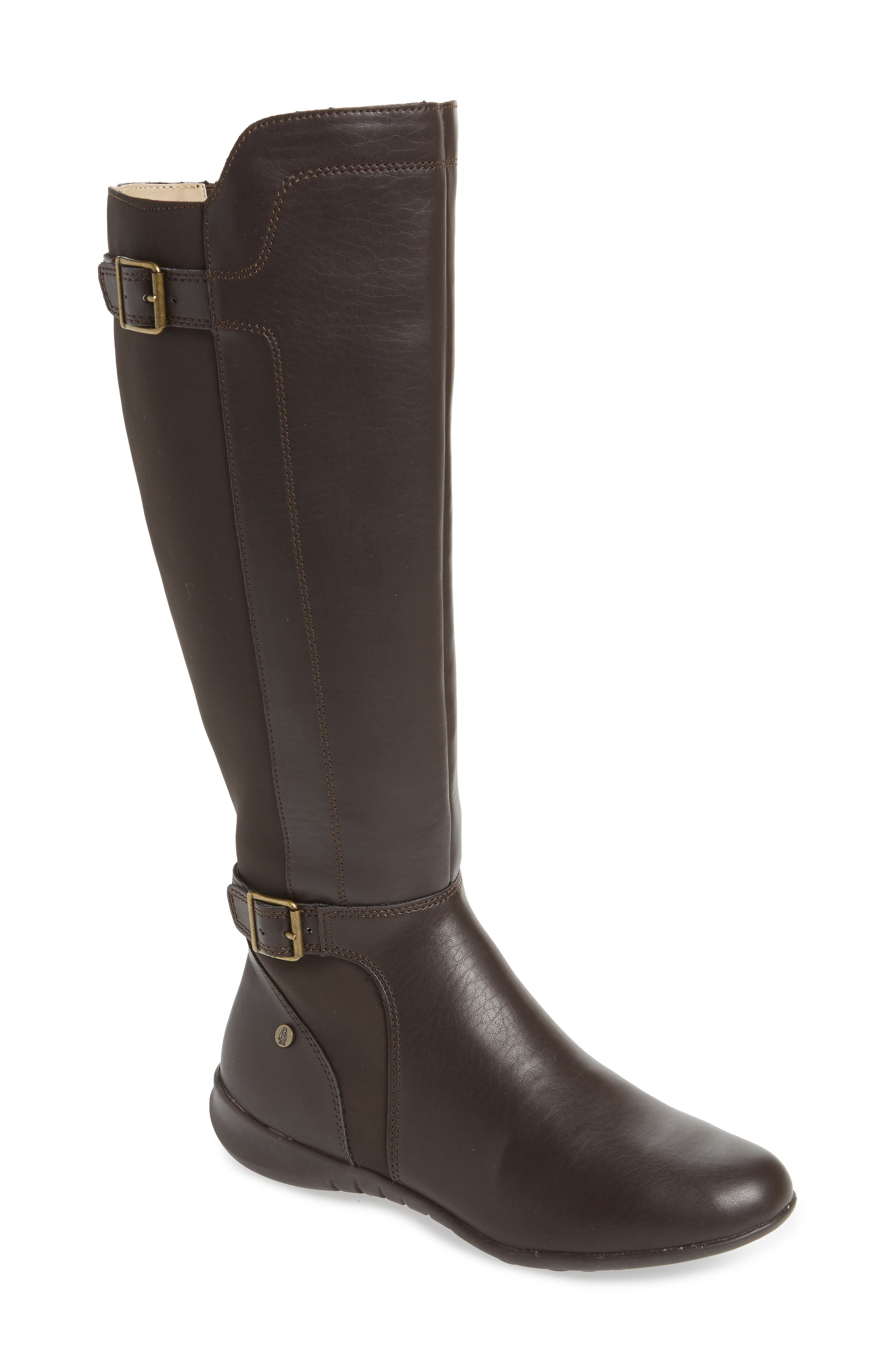 HUSH PUPPIES<SUP>®</SUP>, Bria Knee High Boot, Main thumbnail 1, color, DARK BROWN FAUX LEATHER