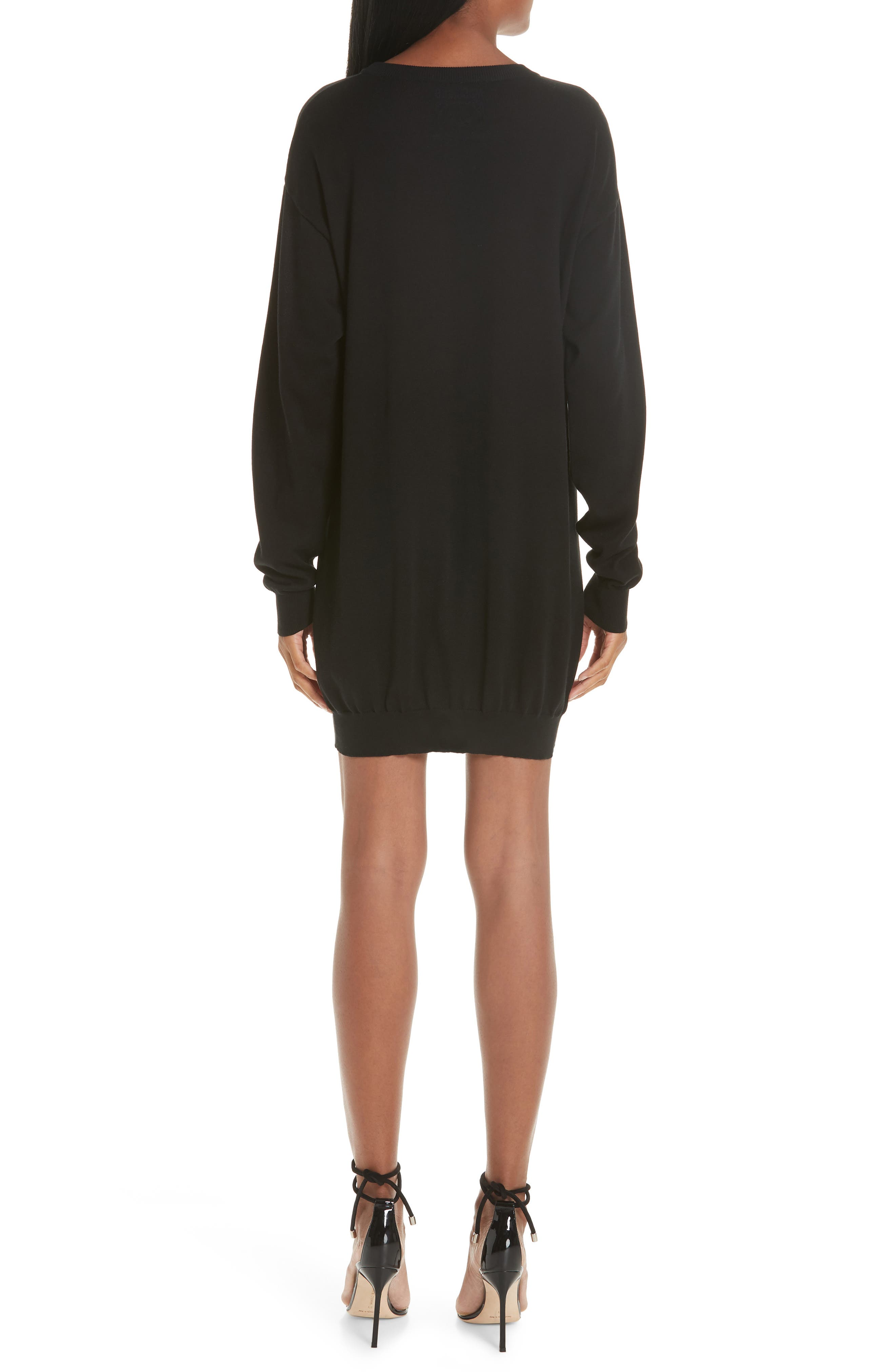 MOSCHINO, Circus Teddy Sweater Dress, Alternate thumbnail 2, color, BLACK