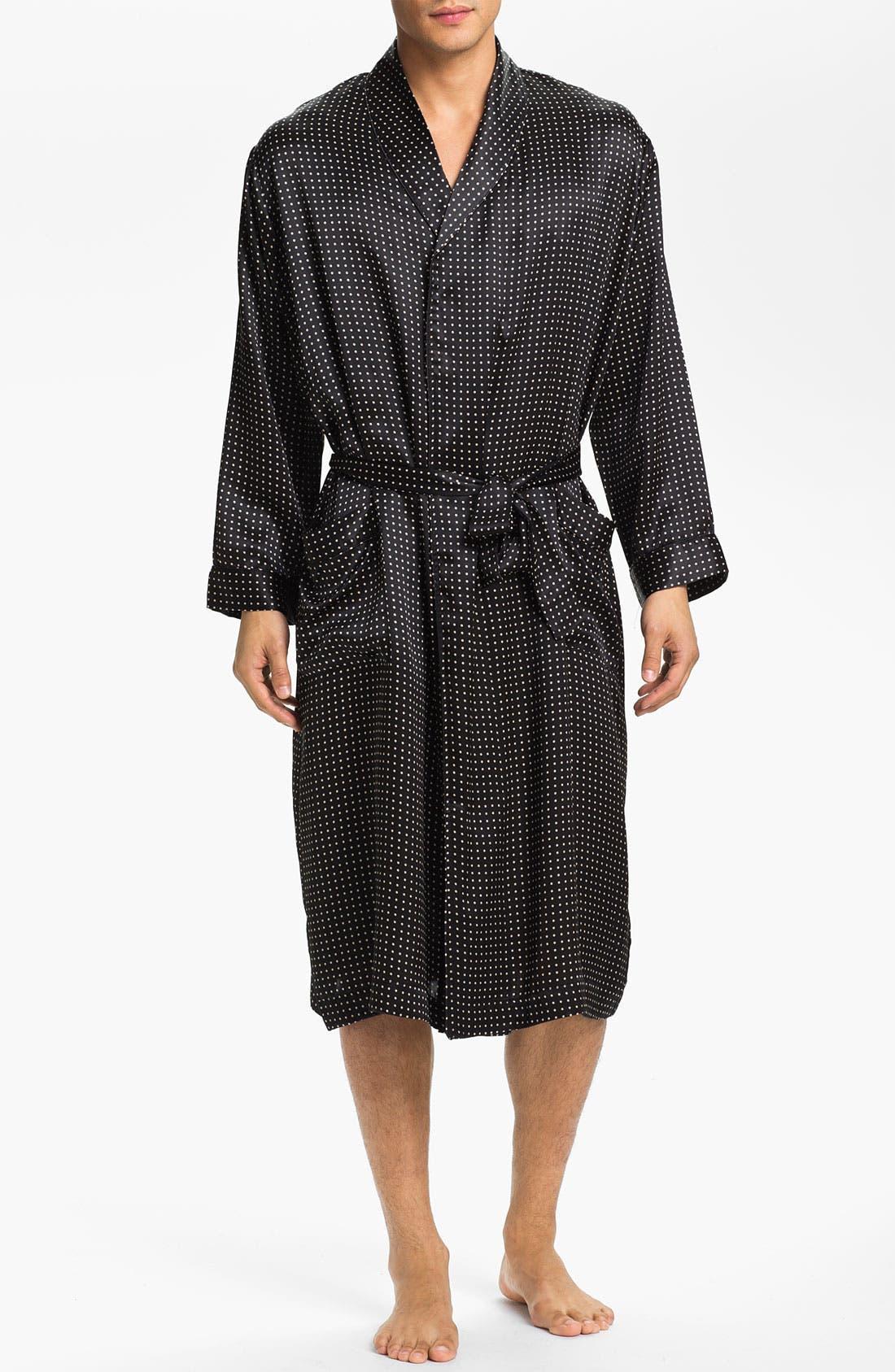 MAJESTIC INTERNATIONAL, Dot Silk Robe, Main thumbnail 1, color, BLACK