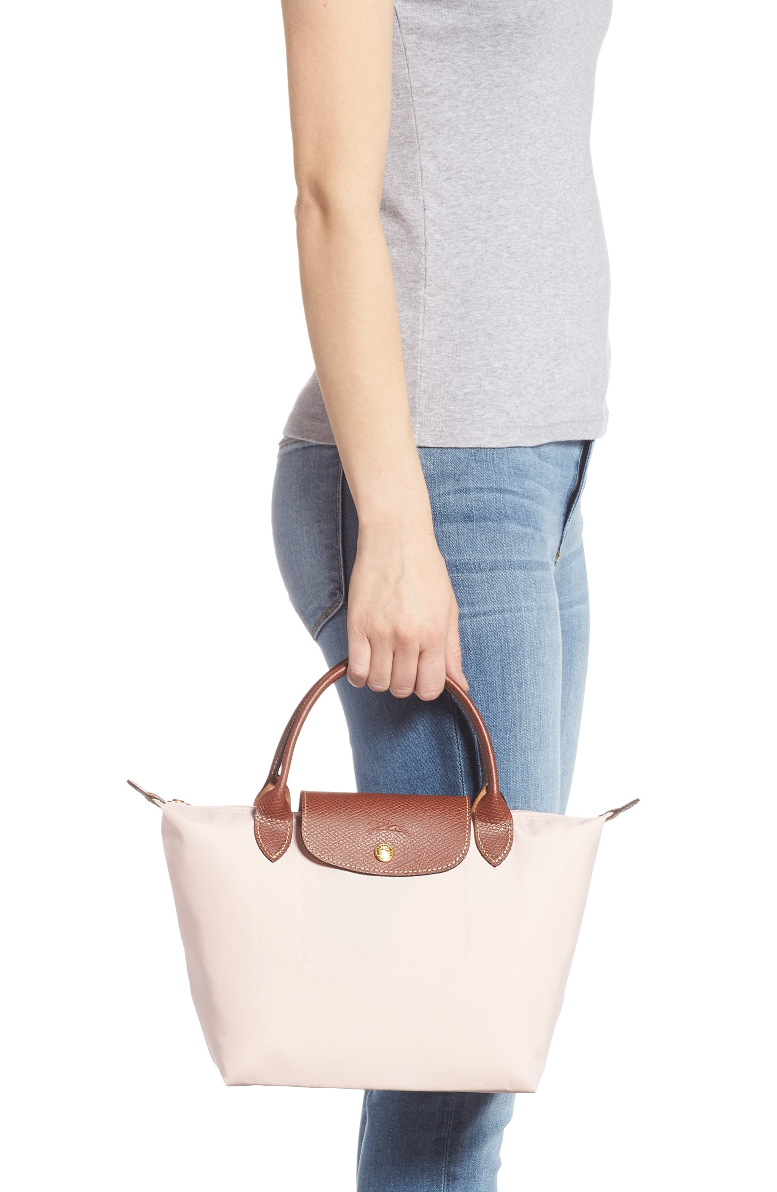 LONGCHAMP, 'Small Le Pliage' Top Handle Tote, Alternate thumbnail 2, color, PINK ICE