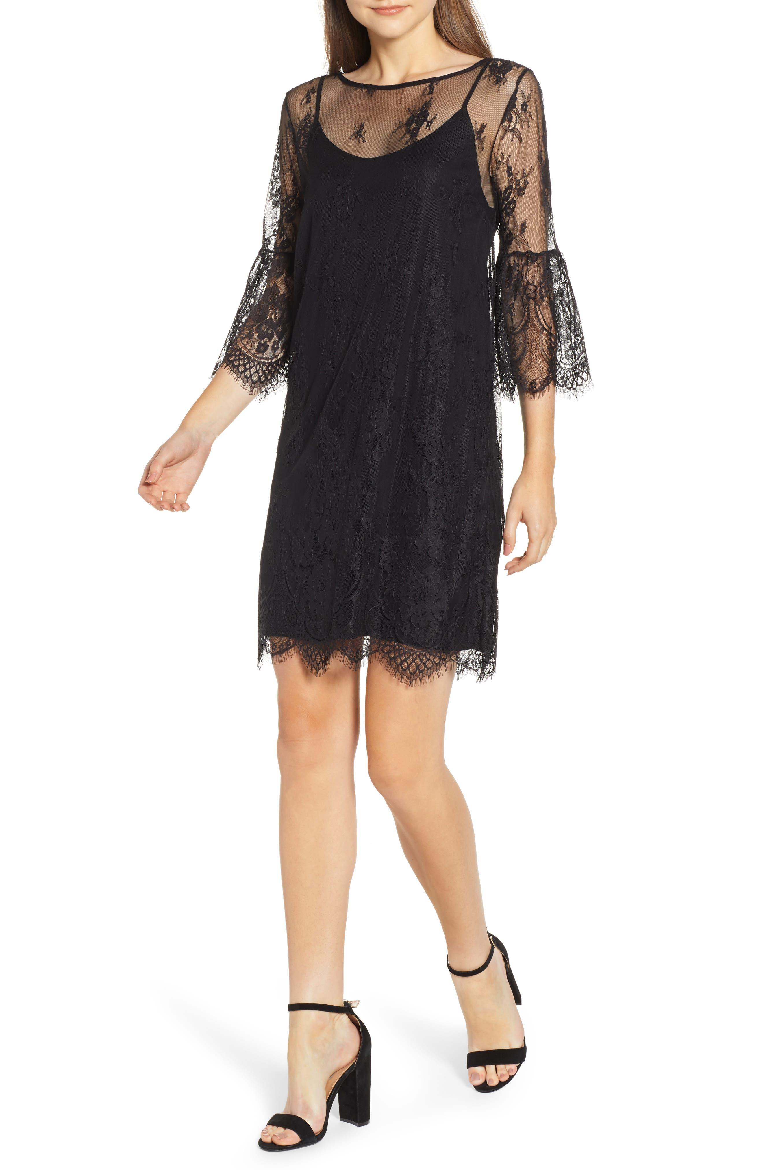 ROSEMUNDE Aix Lace Dress, Main, color, BLACK