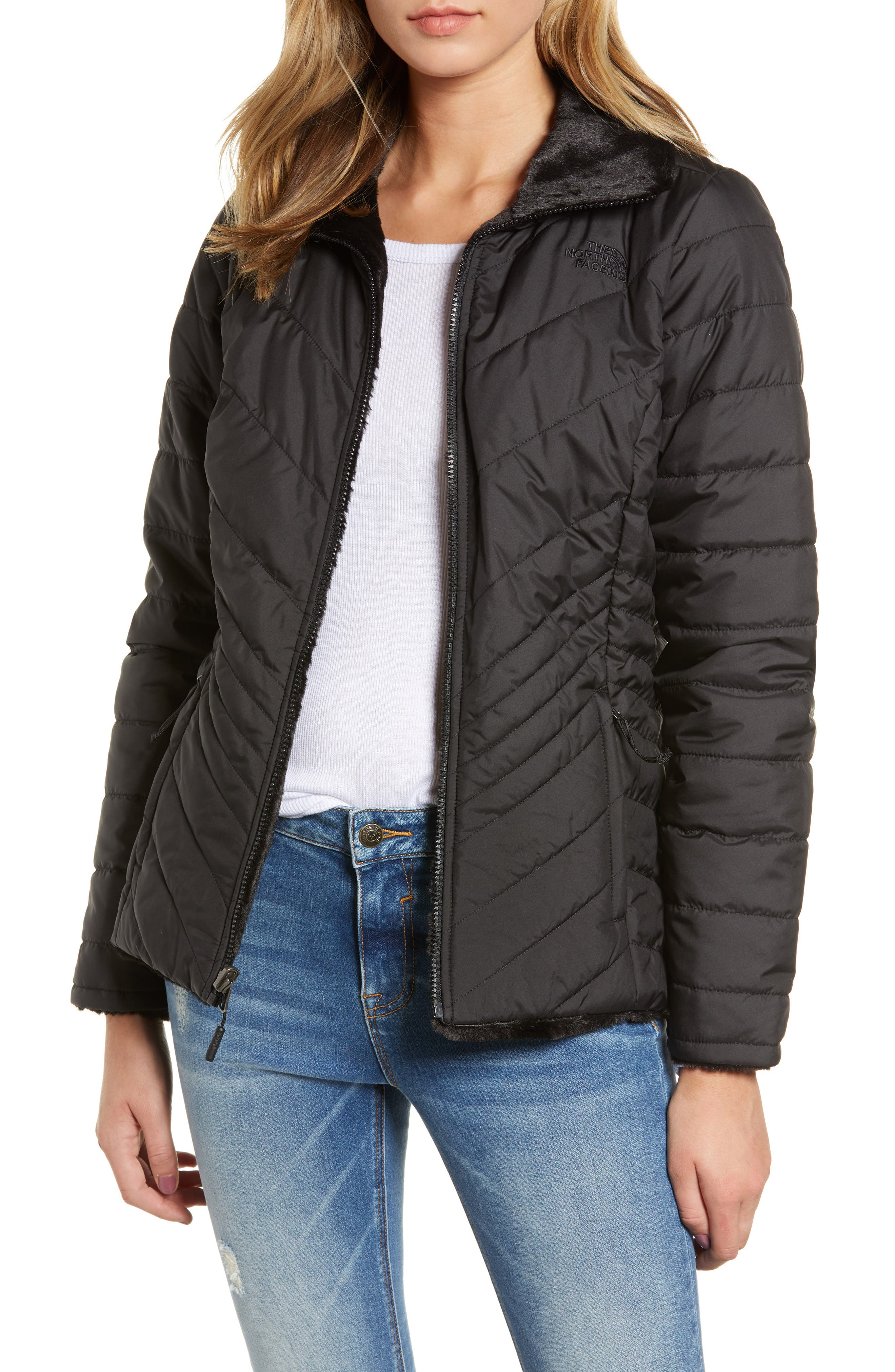 THE NORTH FACE Mossbud Reversible Heatseeker<sup>™</sup> Wind Resistant Jacket, Main, color, TNF BLACK