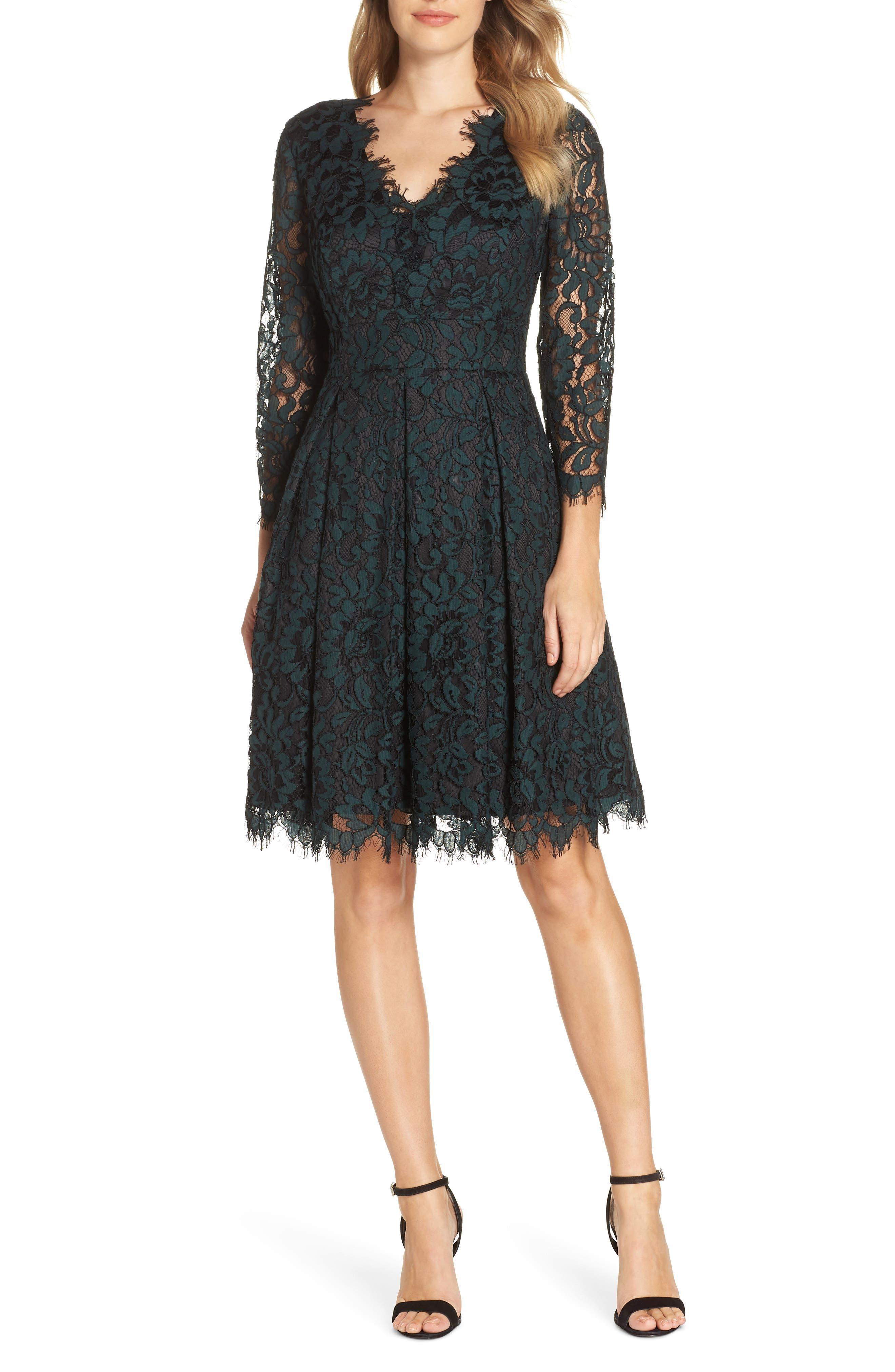 ELIZA J, Lace V-Neck Fit & Flare Dress, Main thumbnail 1, color, 310