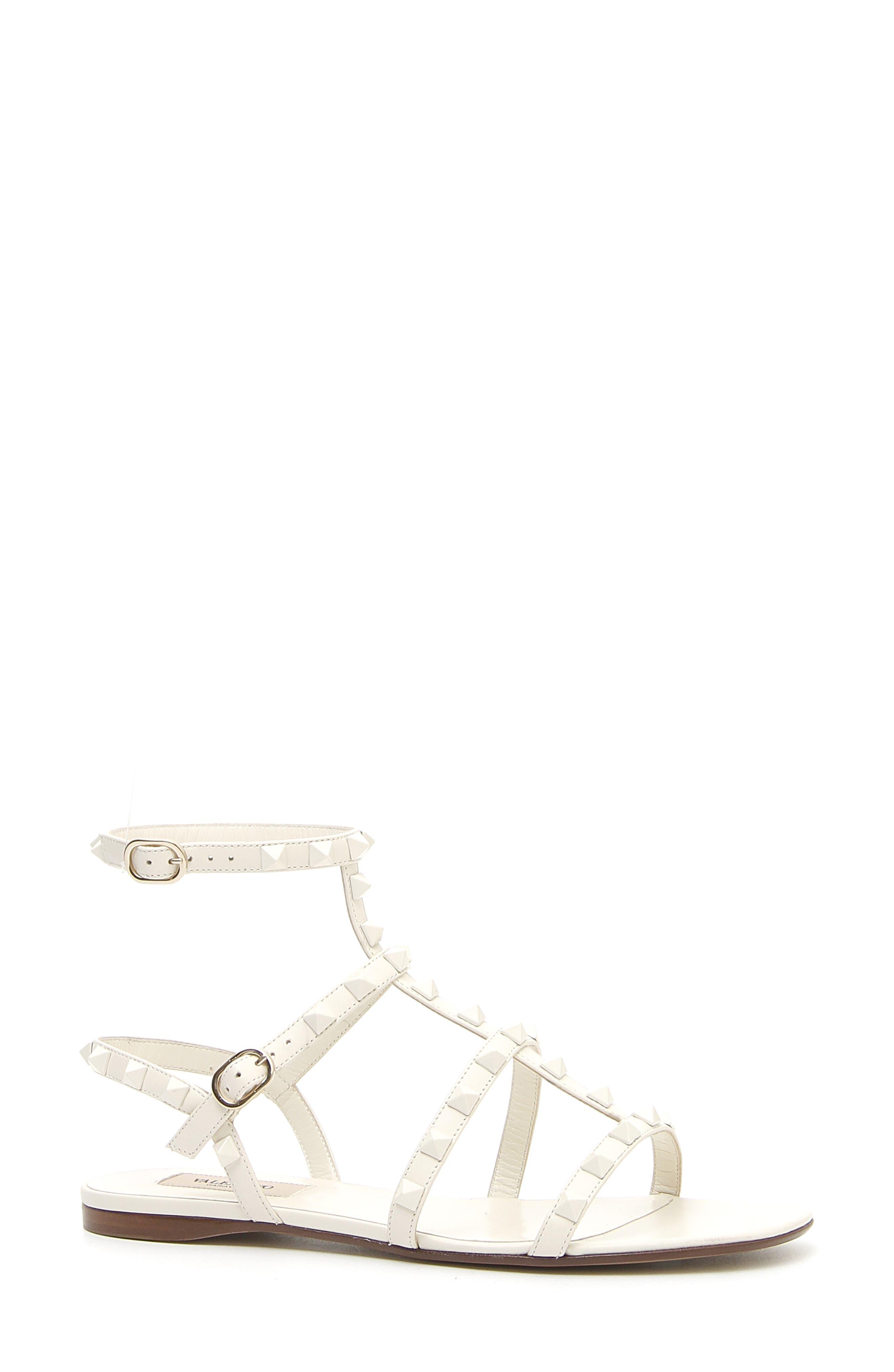 VALENTINO GARAVANI Rockstud Gladiator Sandal, Main, color, IVORY/ IVORY