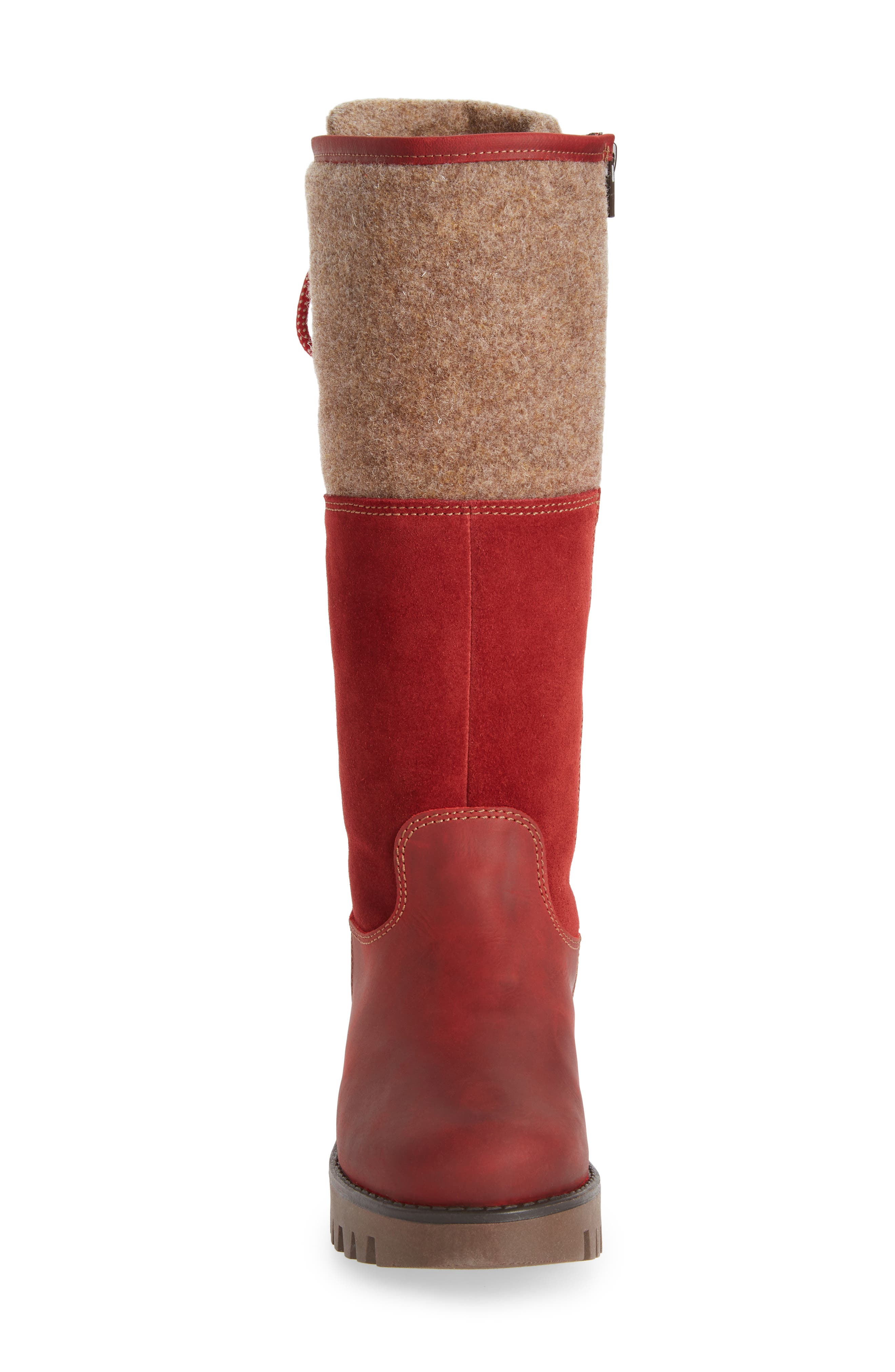 BOS. & CO., 'Ginger' Waterproof Mid Calf Platform Boot, Alternate thumbnail 4, color, RED/ SCARLET WOOL