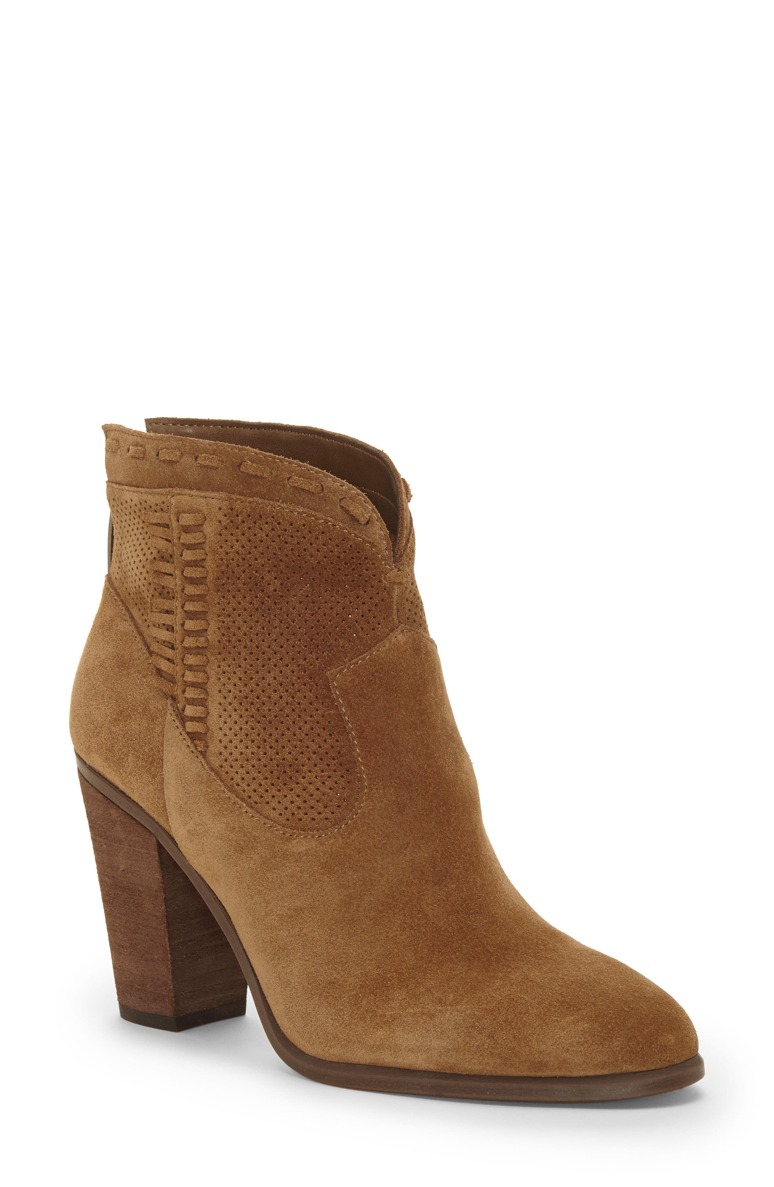 VINCE CAMUTO, Fretzia Perforated Boot, Main thumbnail 1, color, TREE HOUSE NUBUCK