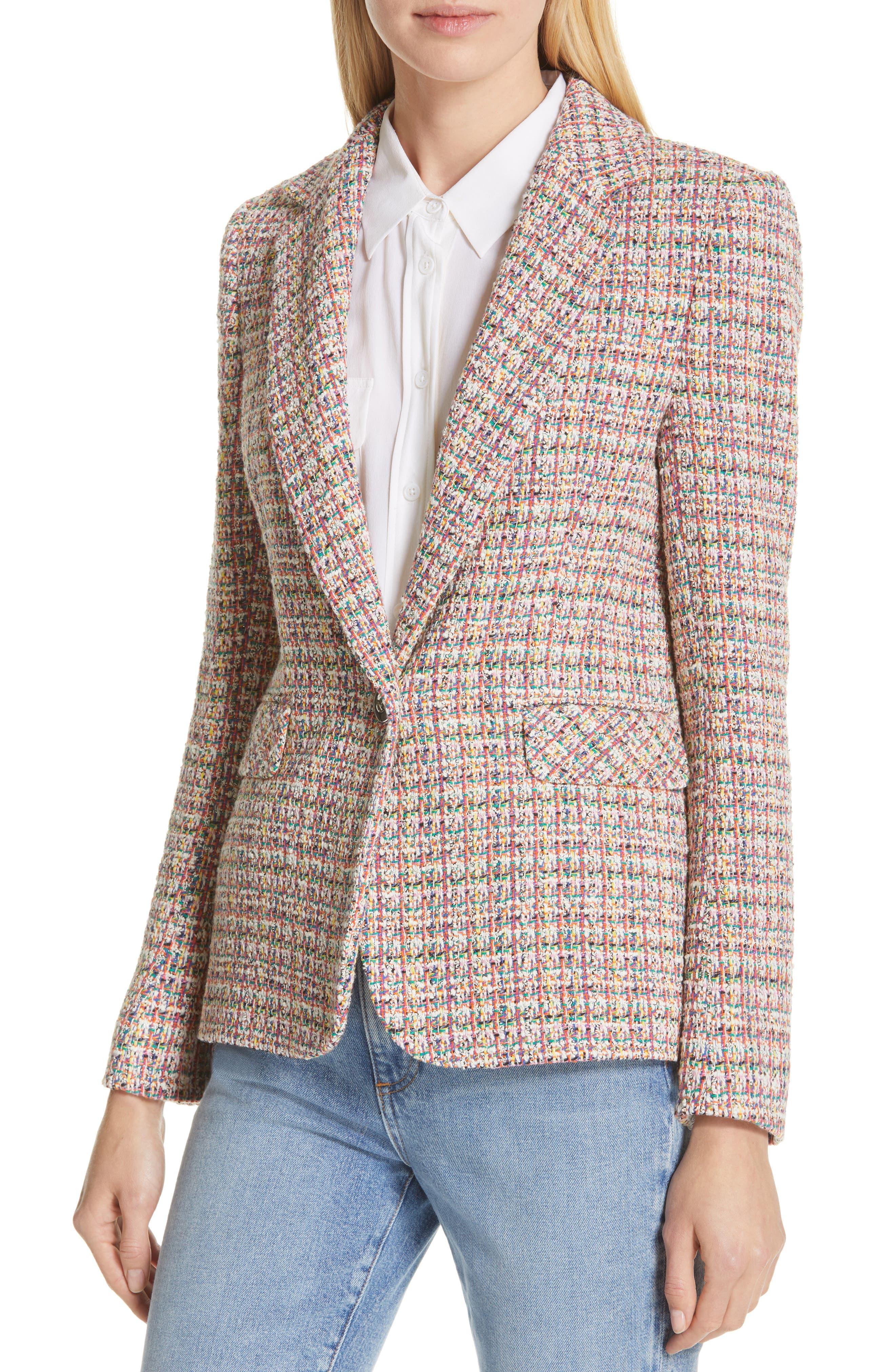 HELENE BERMAN, Colorful Tweed Blazer, Alternate thumbnail 4, color, ORANGE
