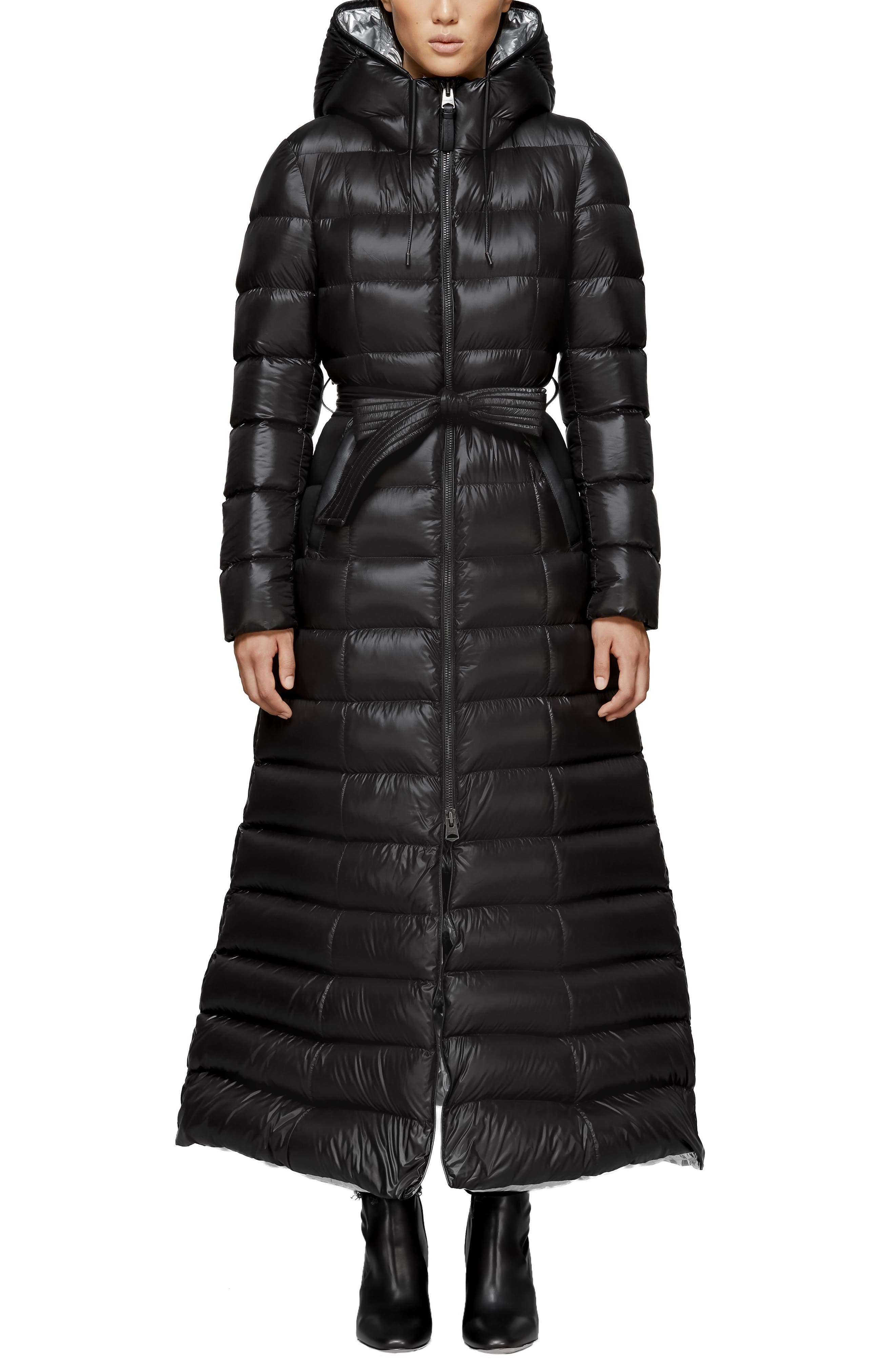 MACKAGE, Long Water Resistant Down Puffer Coat, Main thumbnail 1, color, BLACK