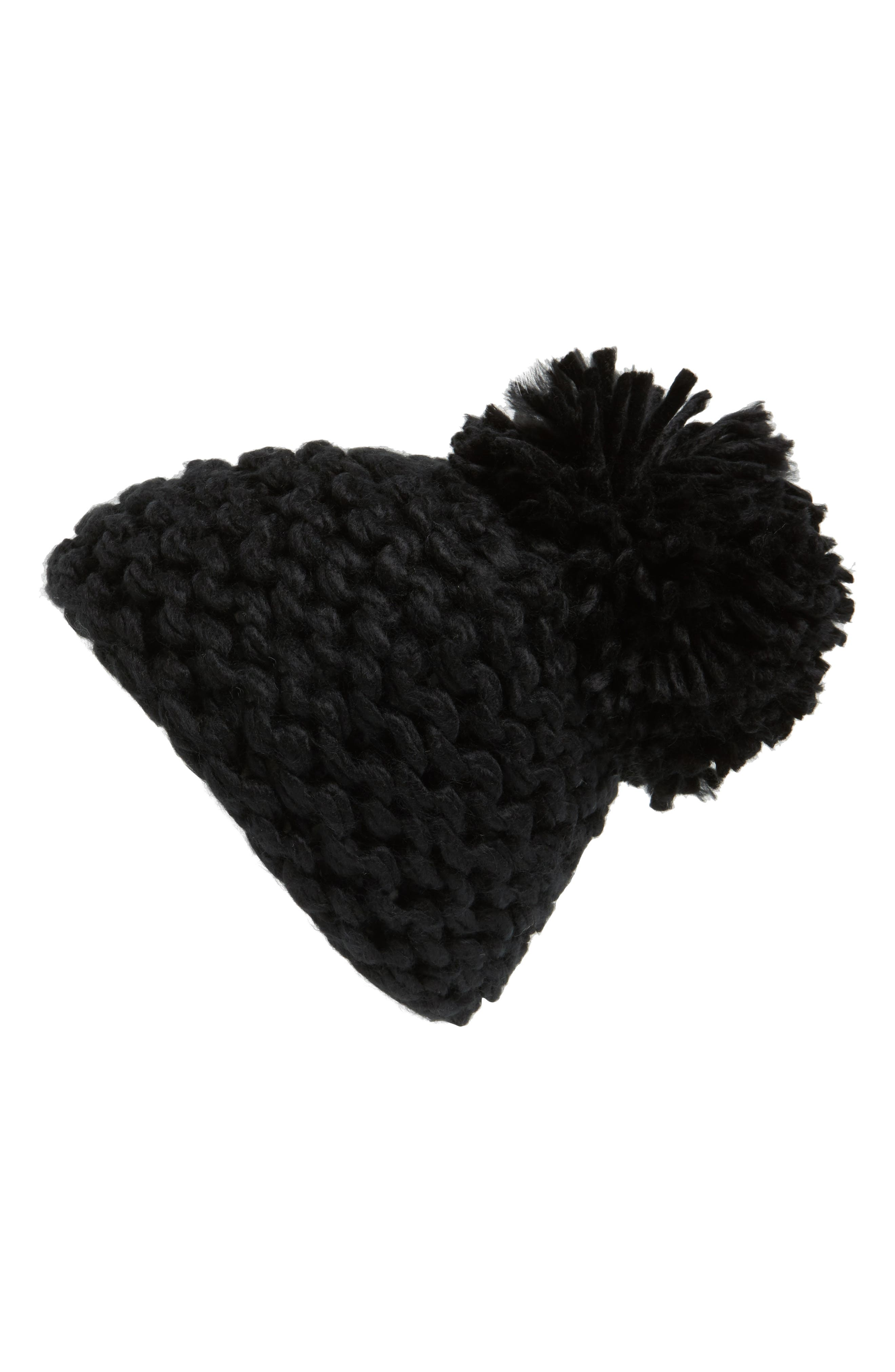 BCBGENERATION, Knit Pompom Beanie, Alternate thumbnail 2, color, 001