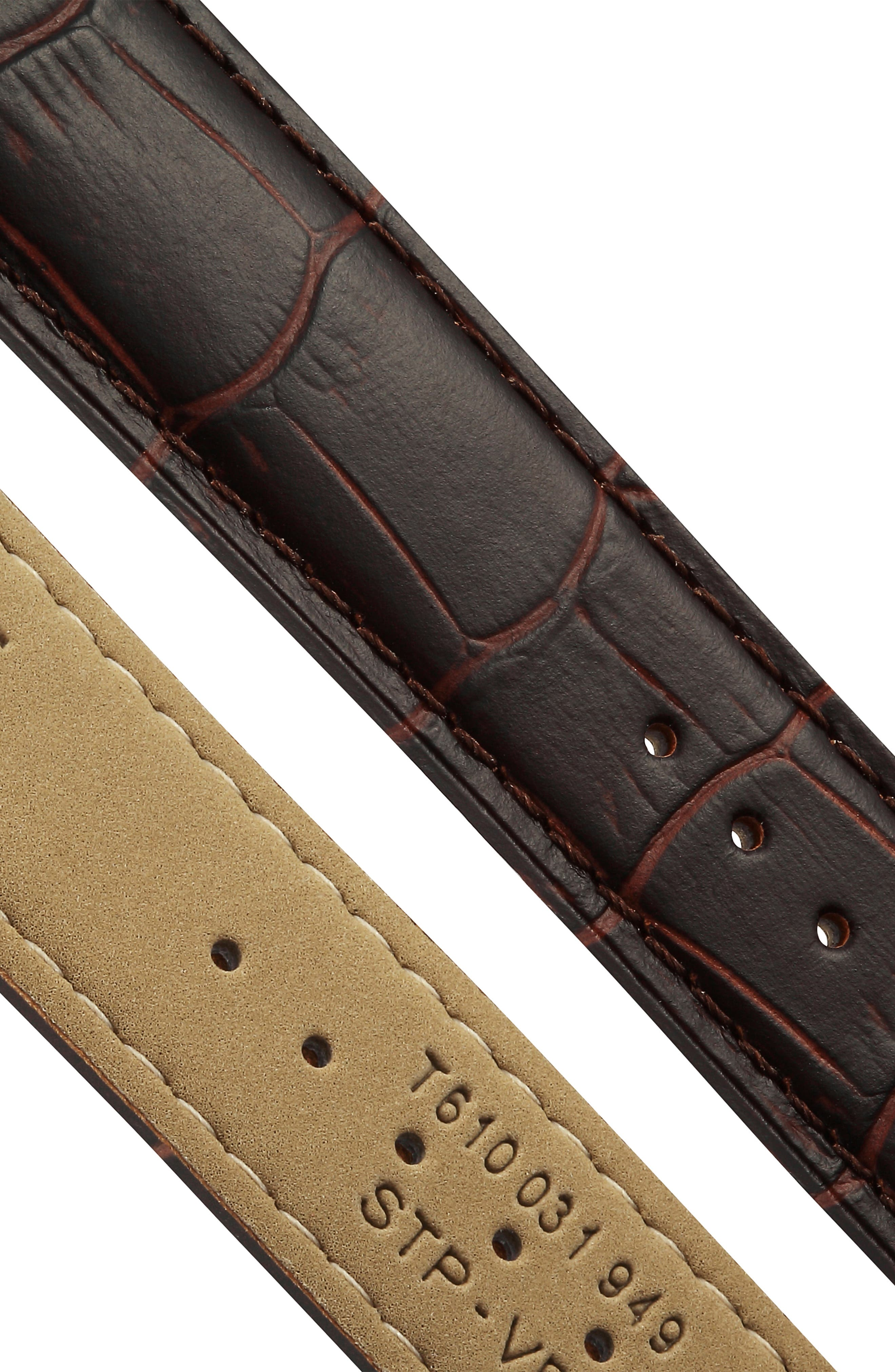TISSOT, Tradition Leather Strap Watch, 42mm, Alternate thumbnail 5, color, BROWN/ SILVER