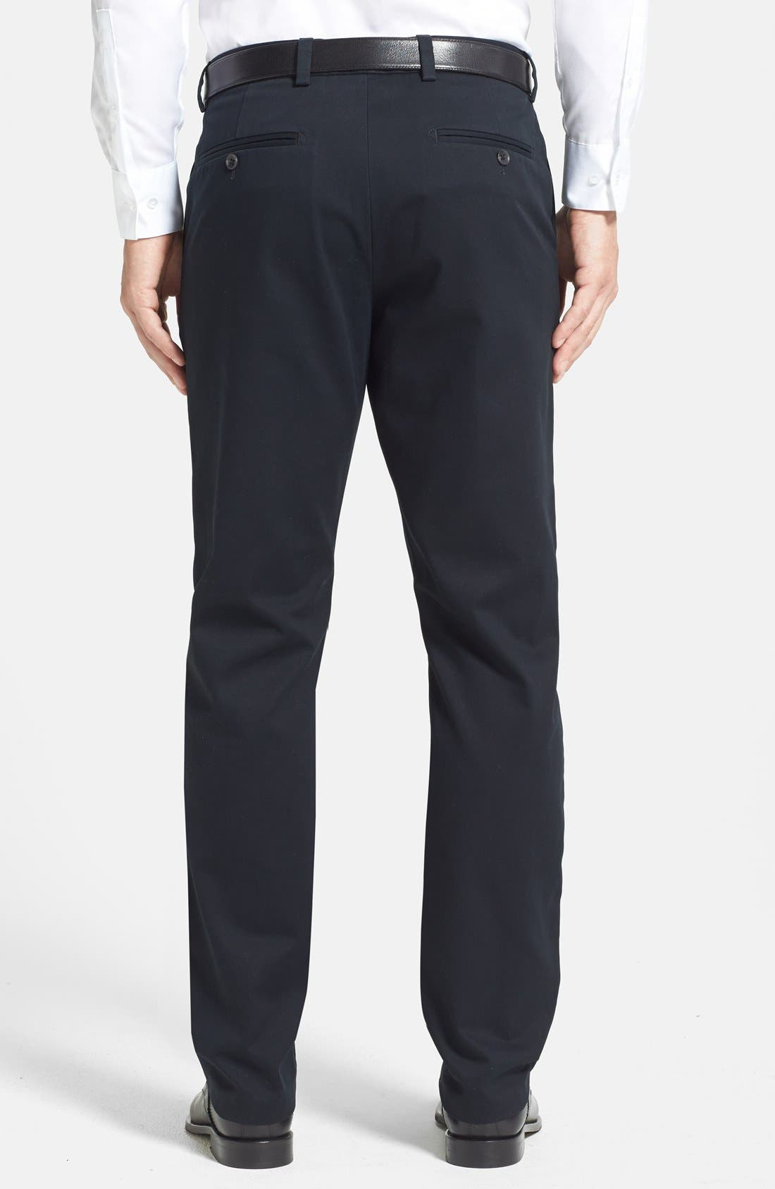 NORDSTROM MEN'S SHOP, Wrinkle Free Straight Leg Chinos, Alternate thumbnail 8, color, ANTHRACITE