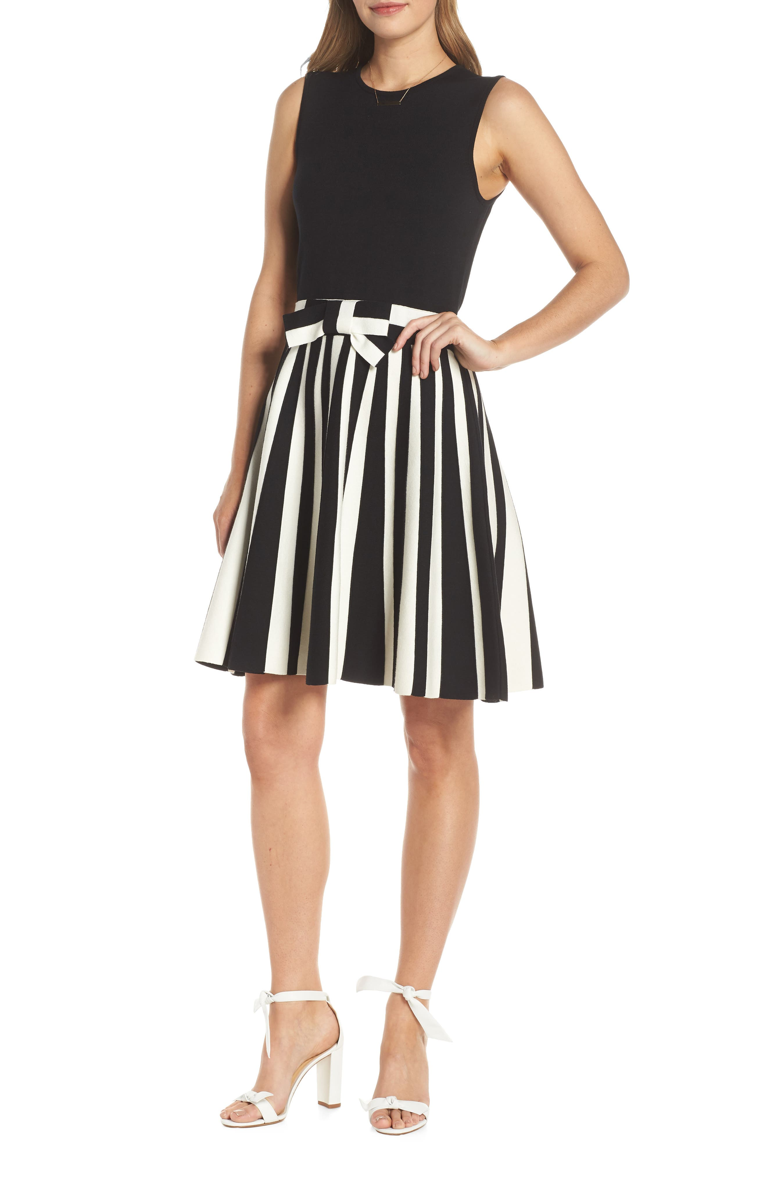 1901 Bow Front Sweater Dress, Main, color, BLACK WHITE STRIPE