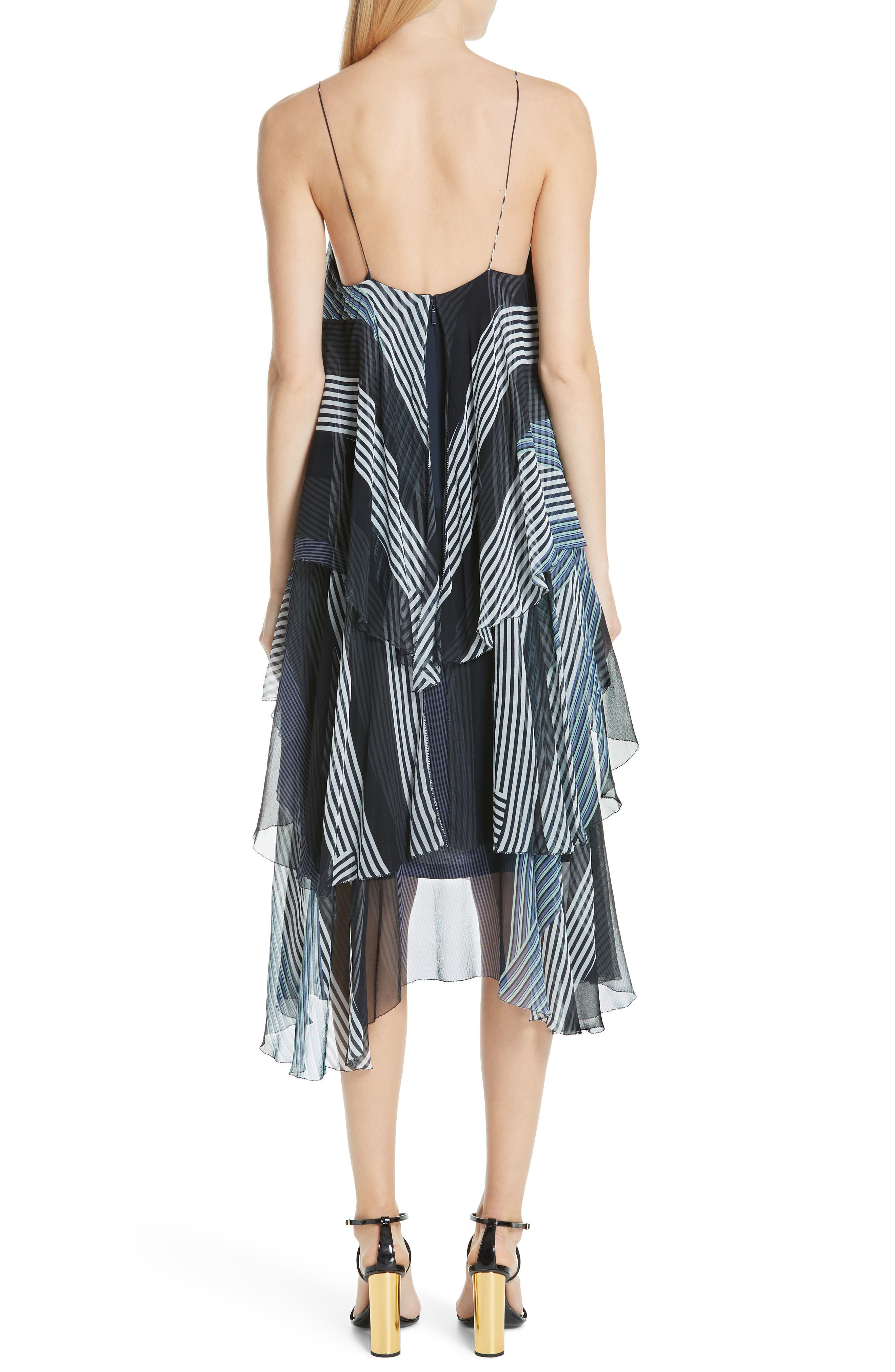 JASON WU, Collage Stripe Silk Tiered Dress, Alternate thumbnail 2, color, DARK NAVY MULTI