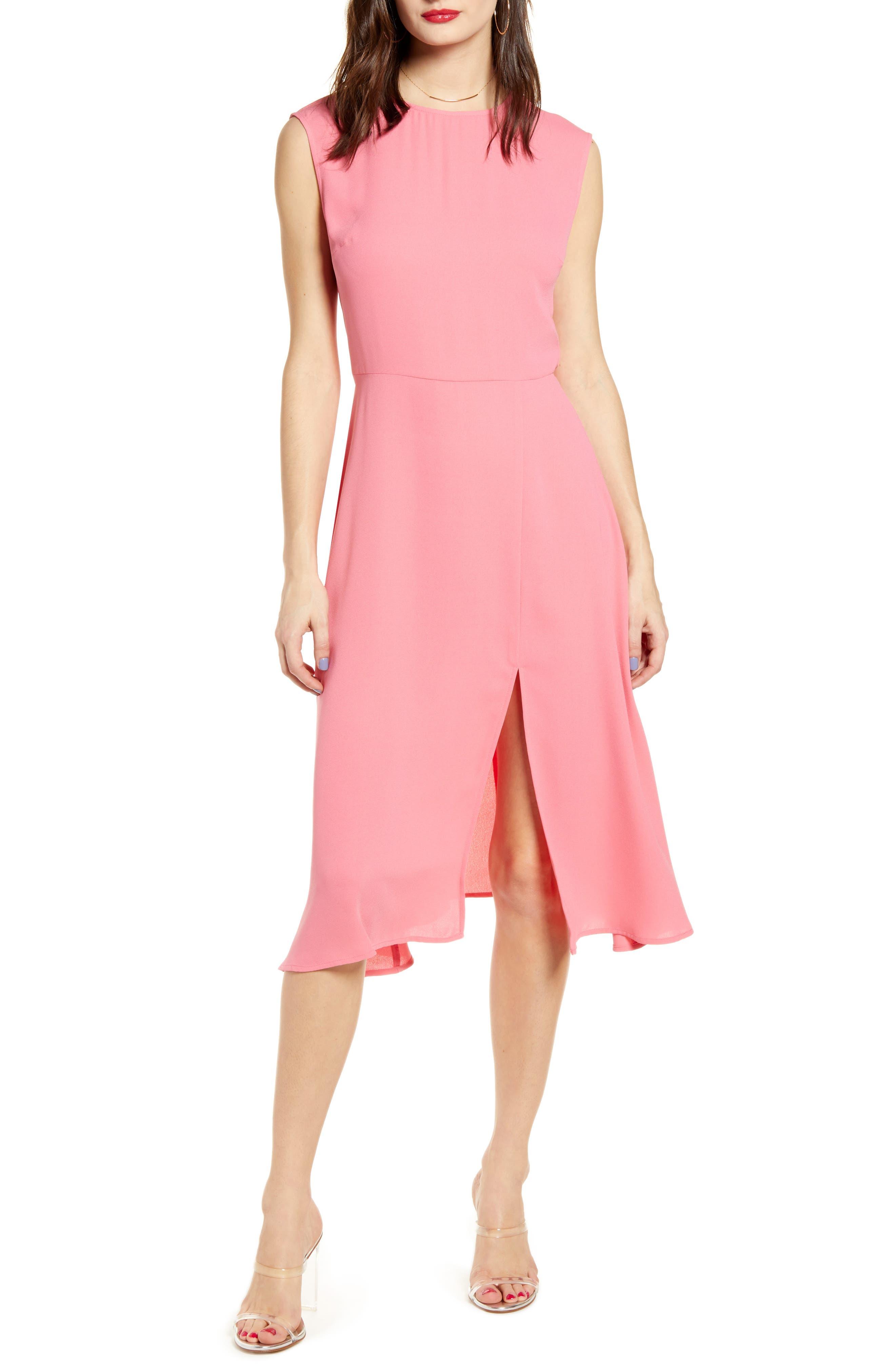LEITH, Chic Midi Dress, Main thumbnail 1, color, PINK LEMONADE