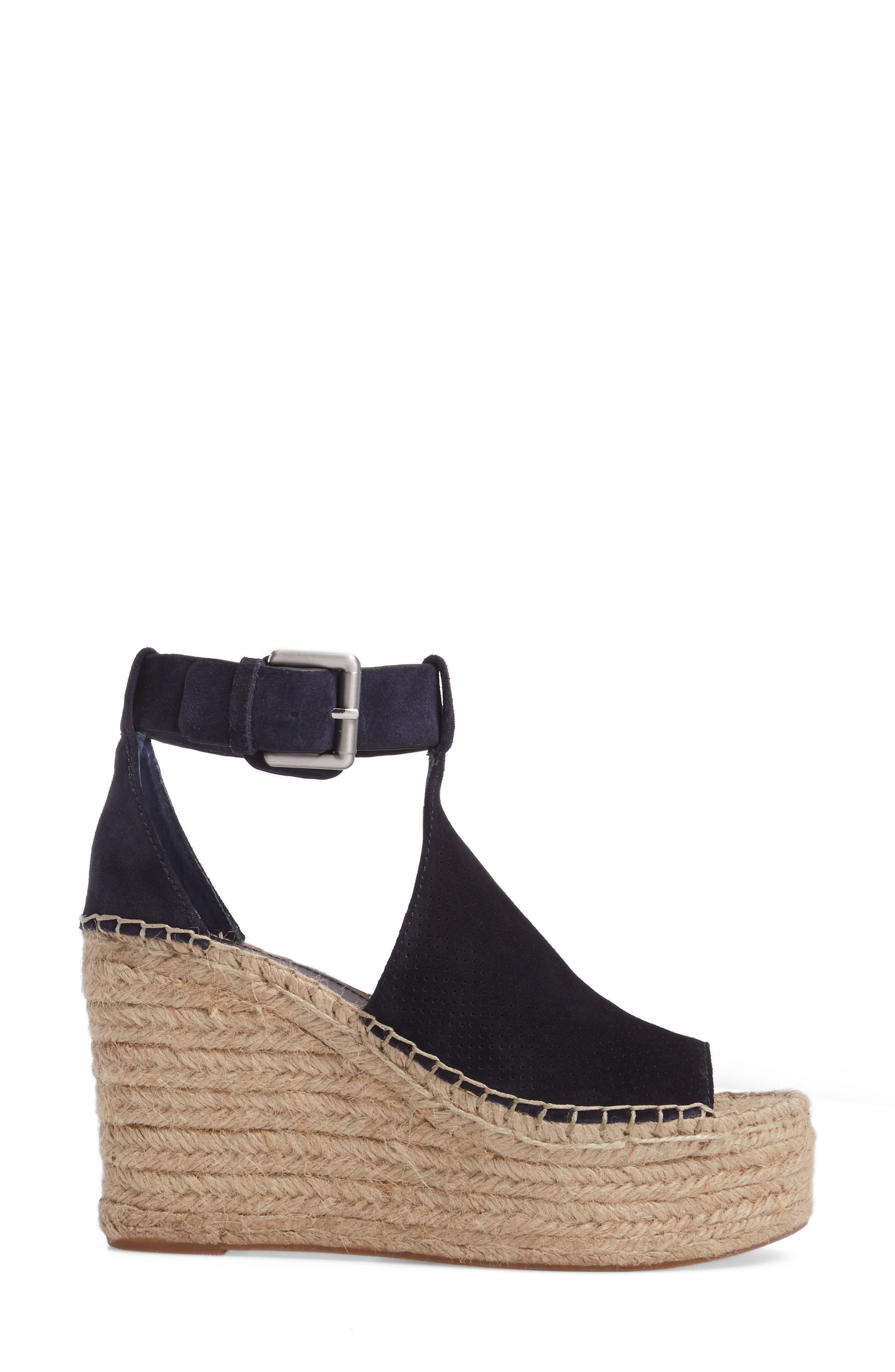 MARC FISHER LTD, Annie Perforated Espadrille Platform Wedge, Alternate thumbnail 3, color, 435