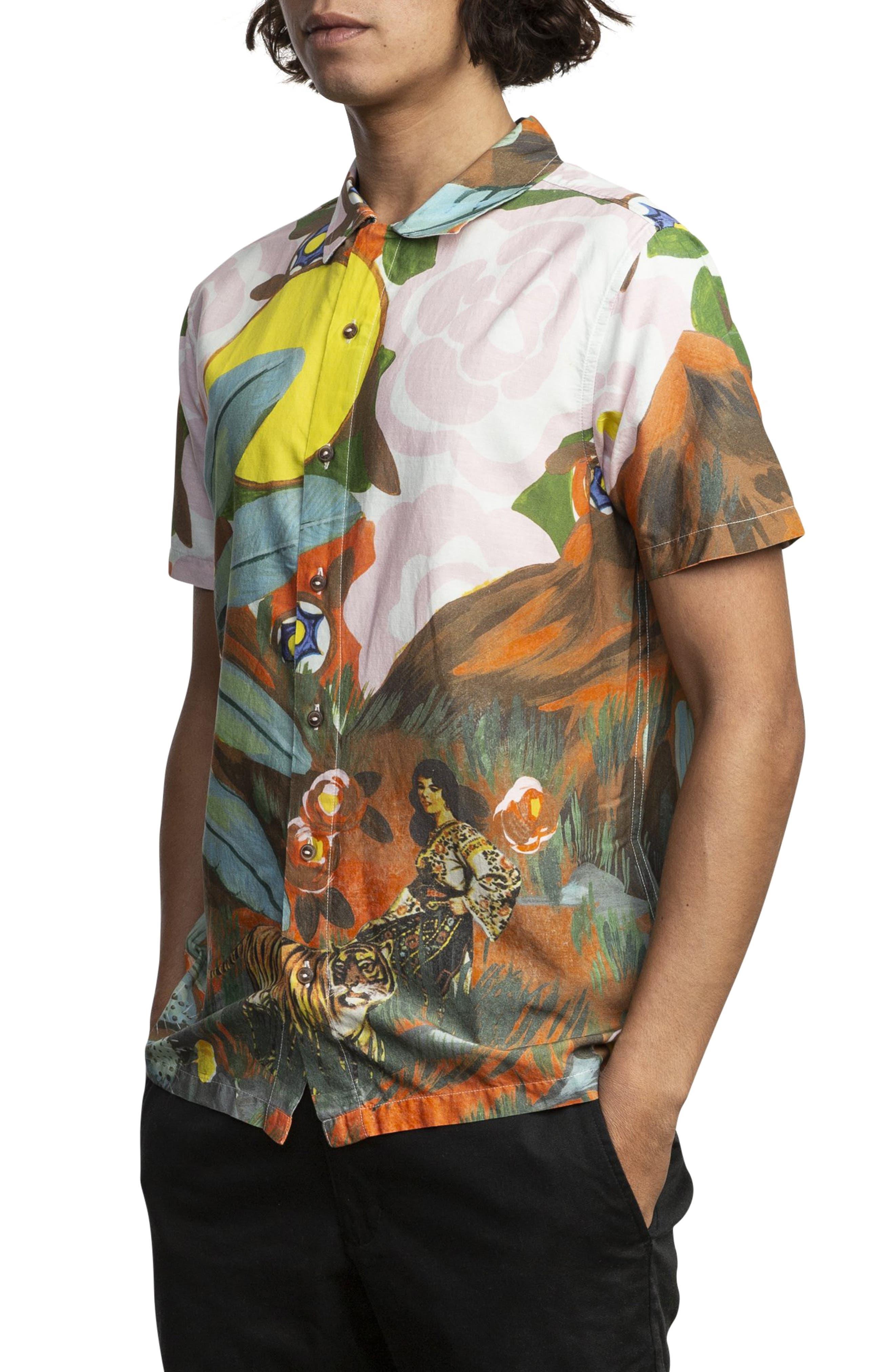 RVCA, Grisancich Woven Shirt, Alternate thumbnail 2, color, TROPICAL