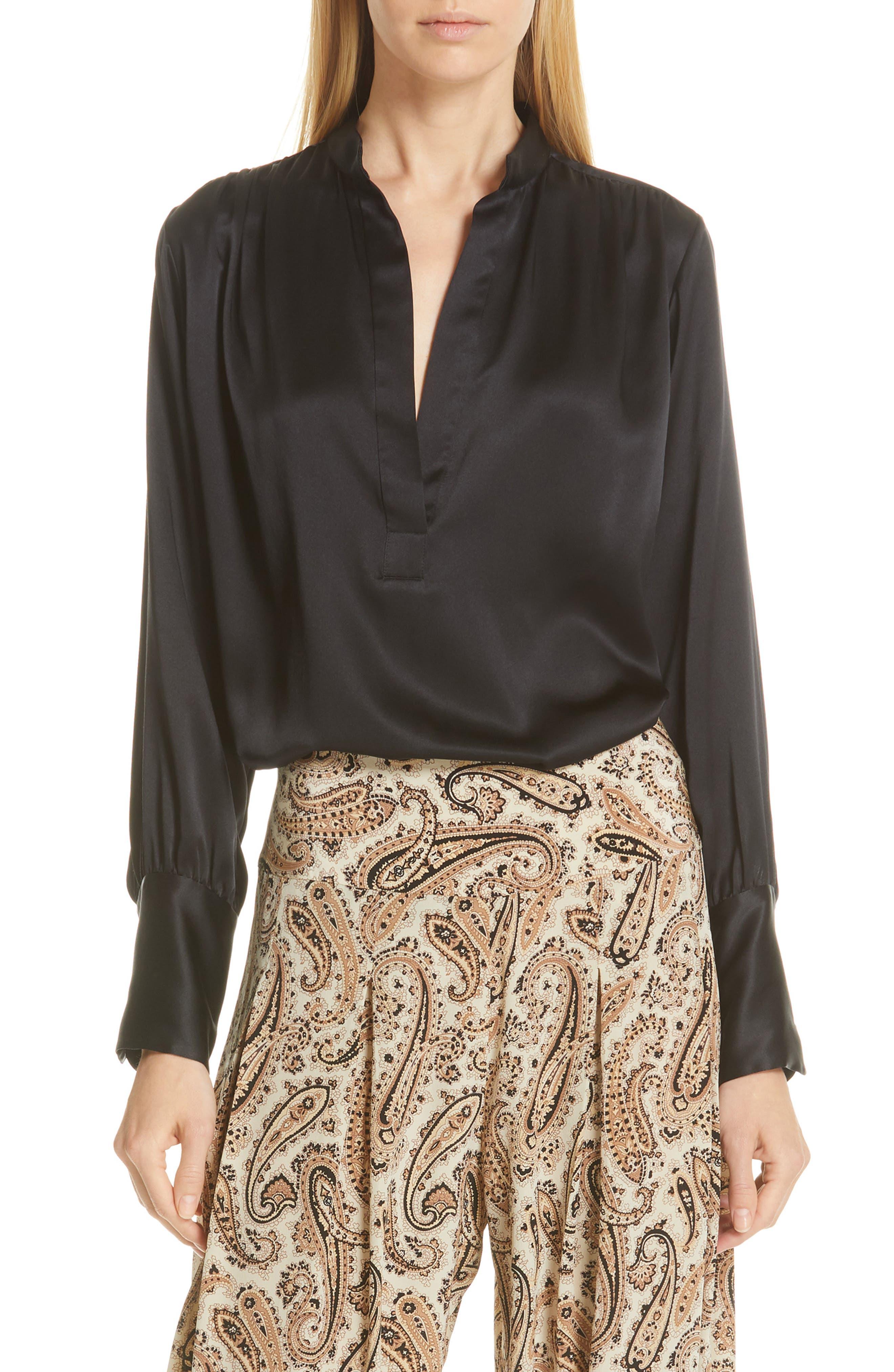 NILI LOTAN Colette Silk Blouse, Main, color, BLACK
