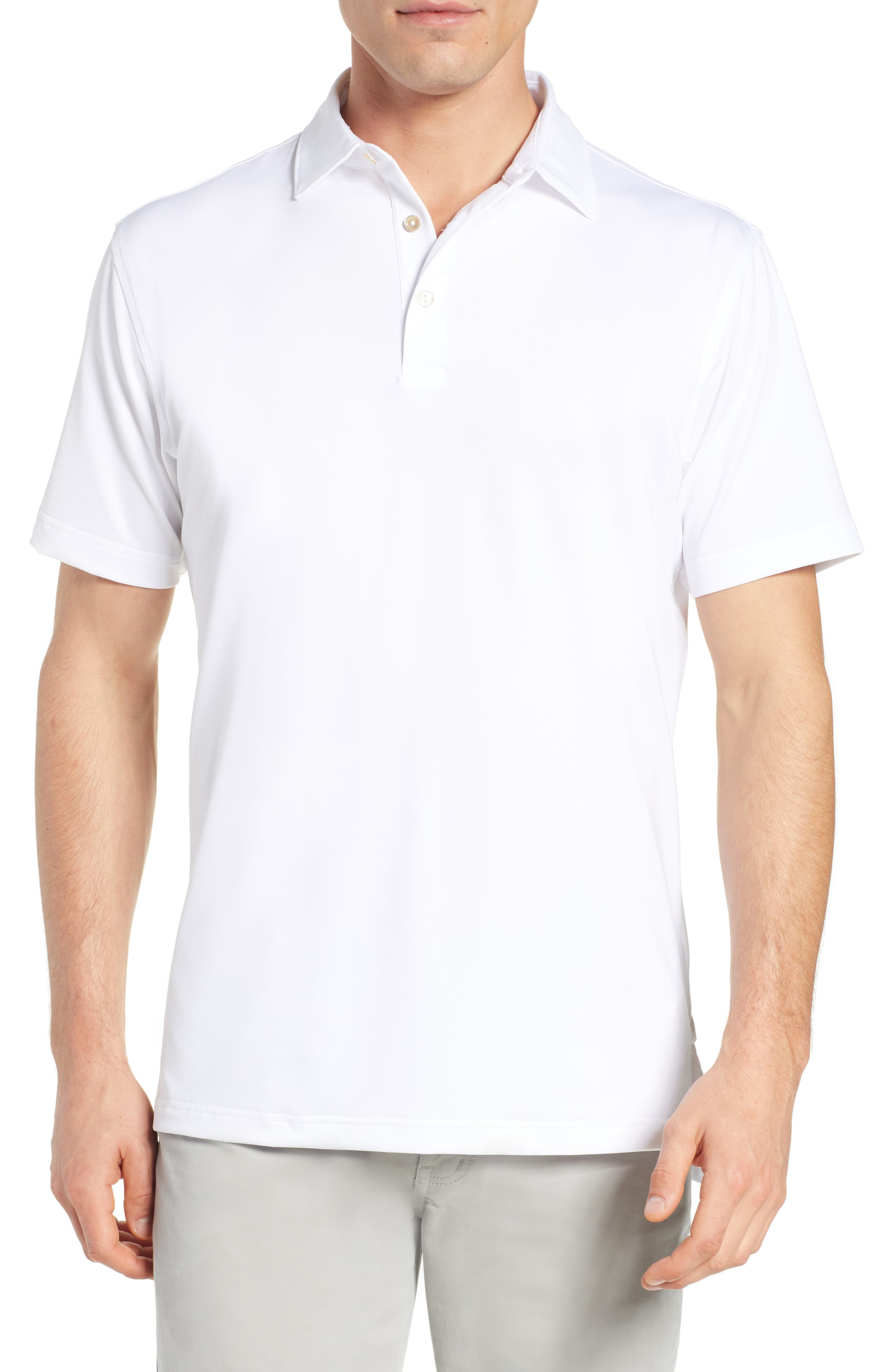 PETER MILLAR, Sean Regular Fit Stretch Jersey Polo, Main thumbnail 1, color, WHITE