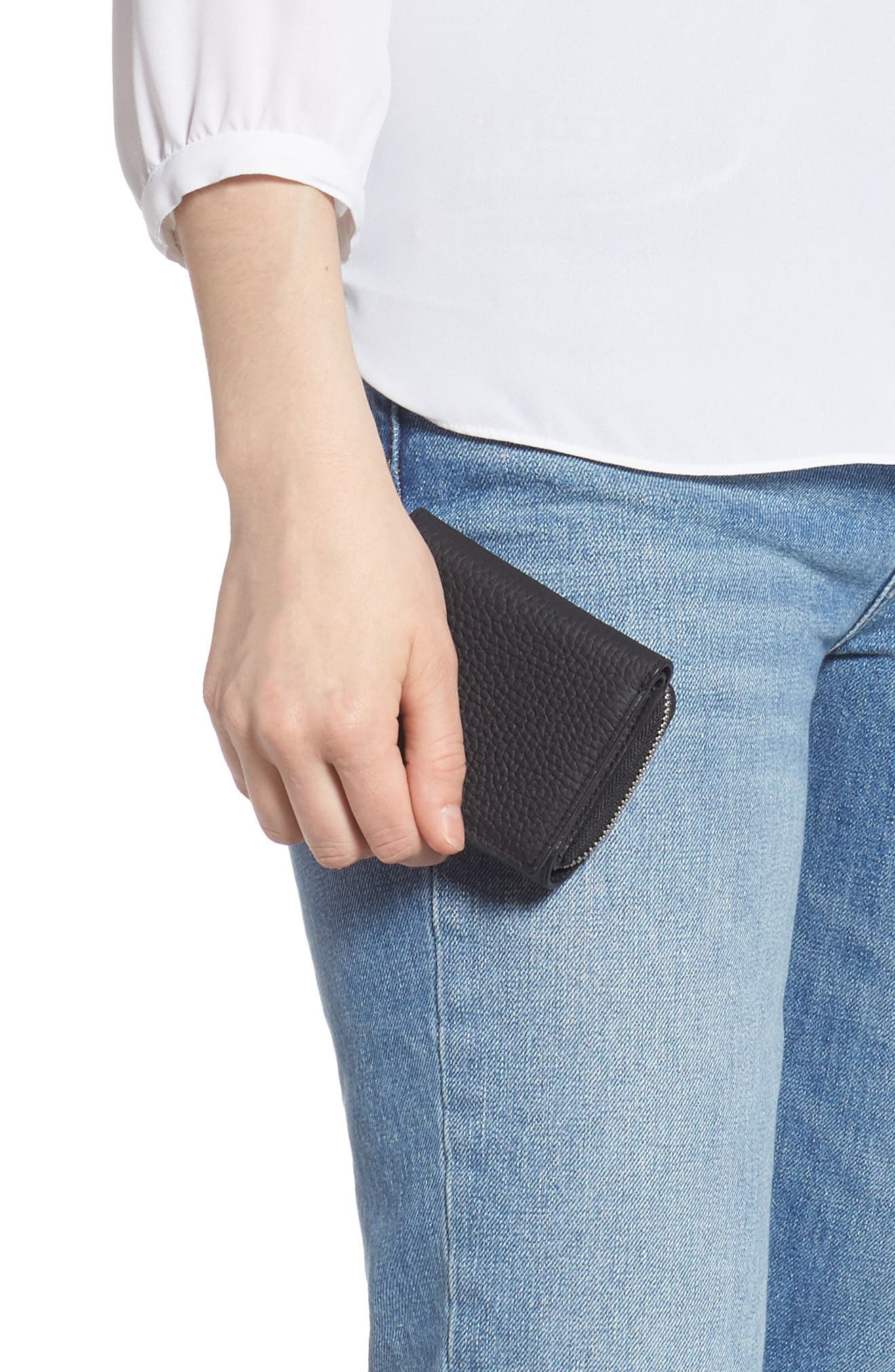 ALLSAINTS, Captain Leather Trifold Wallet, Alternate thumbnail 3, color, BLACK