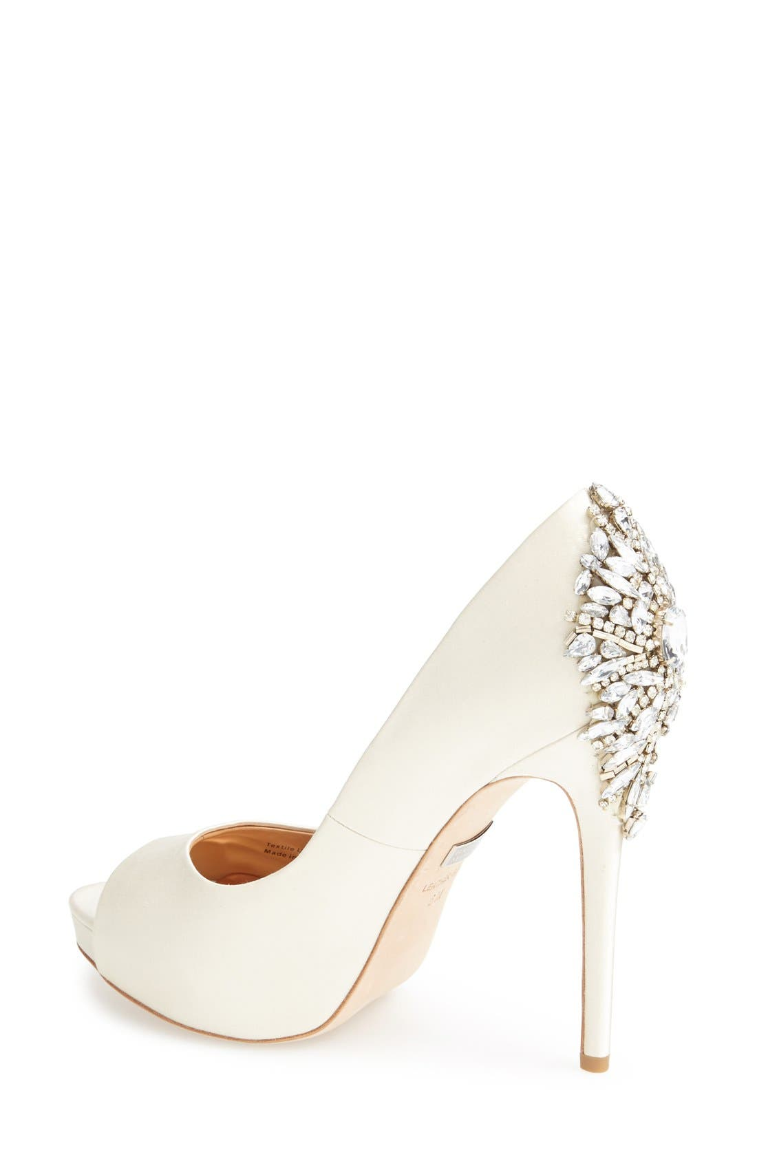BADGLEY MISCHKA COLLECTION, Badgley Mischka 'Kiara' Crystal Back Open Toe Pump, Alternate thumbnail 2, color, IVORY SATN