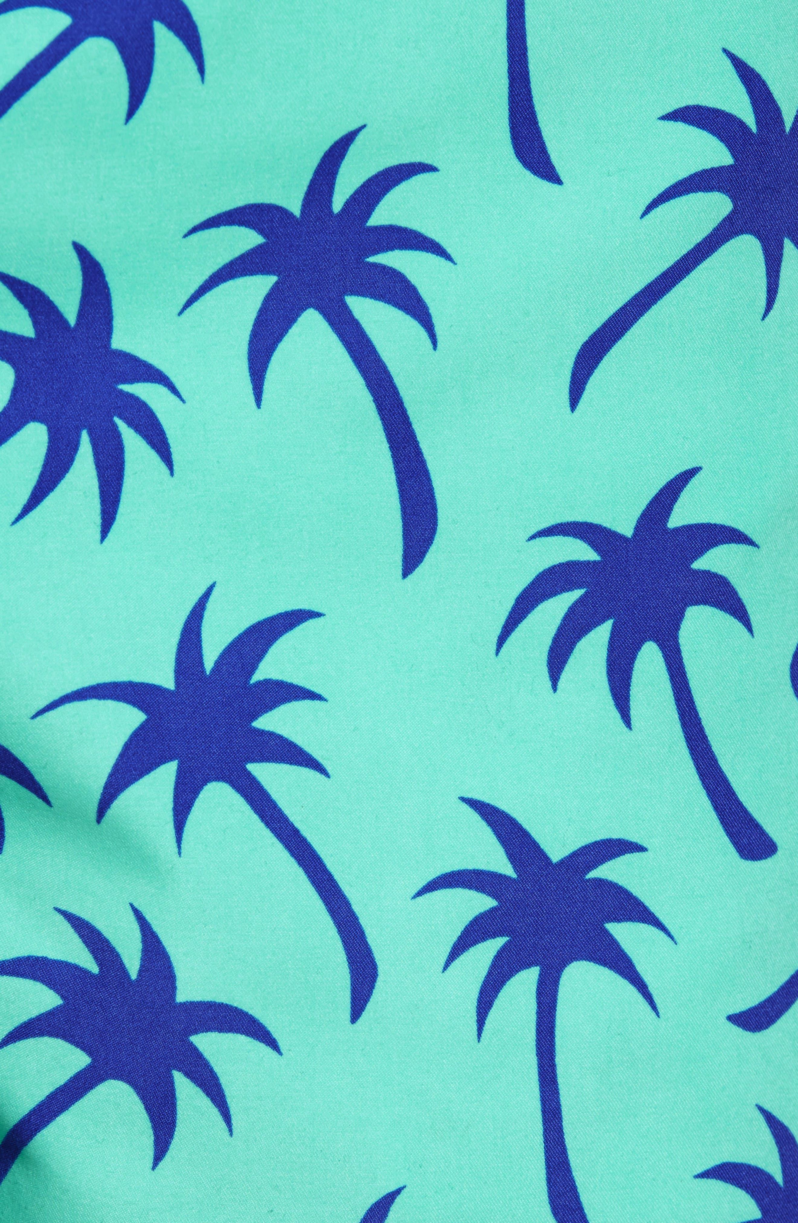 TOM & TEDDY, Palm Tree Print Swim Trunks, Alternate thumbnail 5, color, EMERALD/ BLUE
