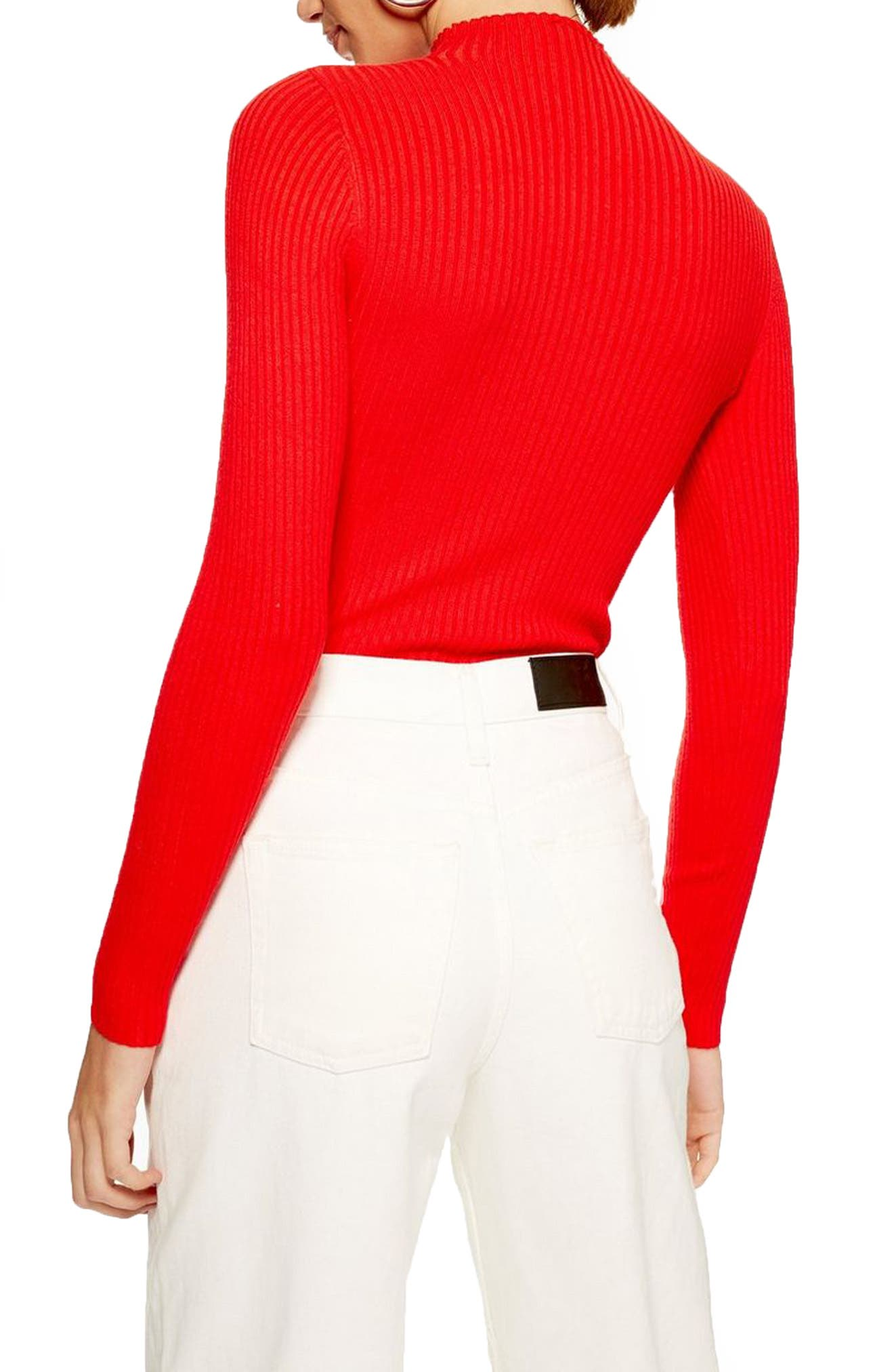 TOPSHOP, Side Button Rib Sweater, Alternate thumbnail 2, color, RED