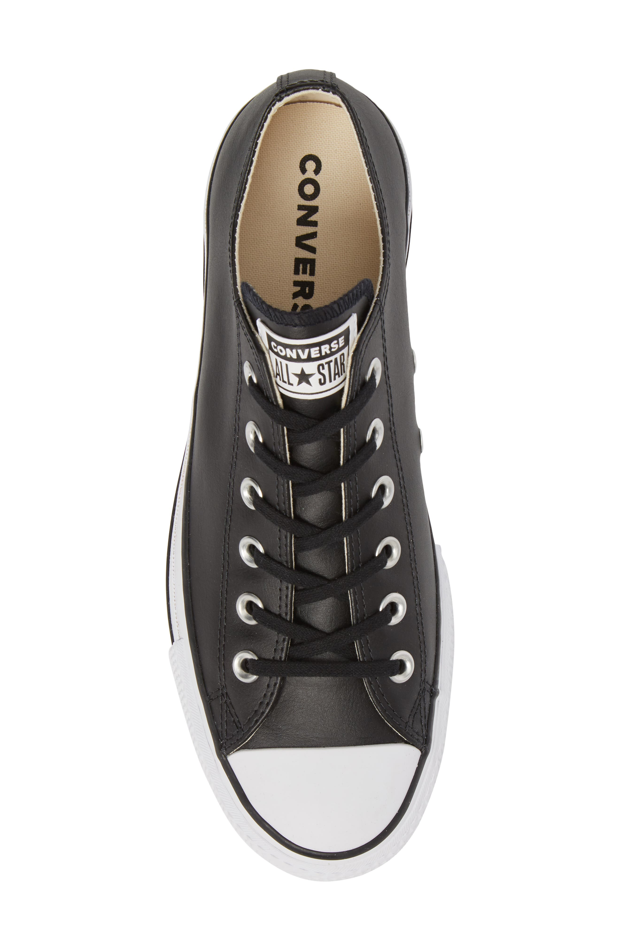 CONVERSE, Chuck Taylor<sup>®</sup> All Star<sup>®</sup> Platform Sneaker, Alternate thumbnail 5, color, BLACK/ BLACK LEATHER