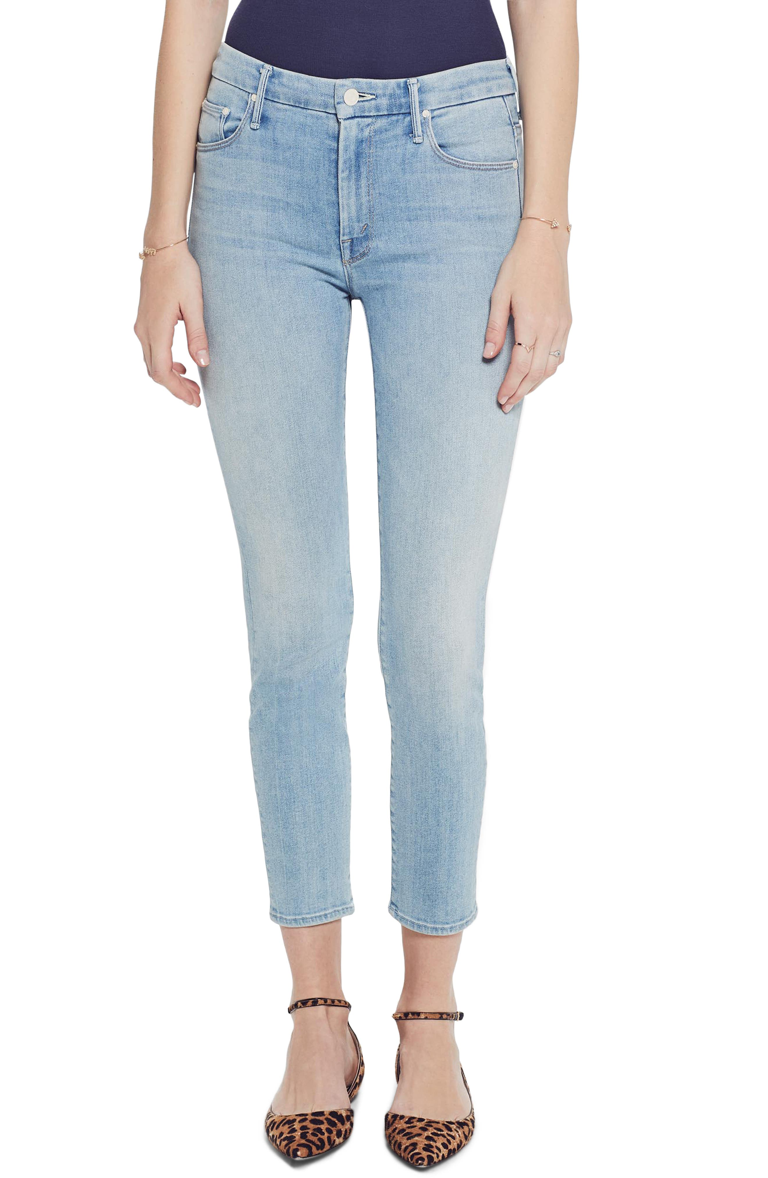 MOTHER, The Looker High Waist Crop Skinny Jeans, Main thumbnail 1, color, SWIMMING POOL SUNDAY