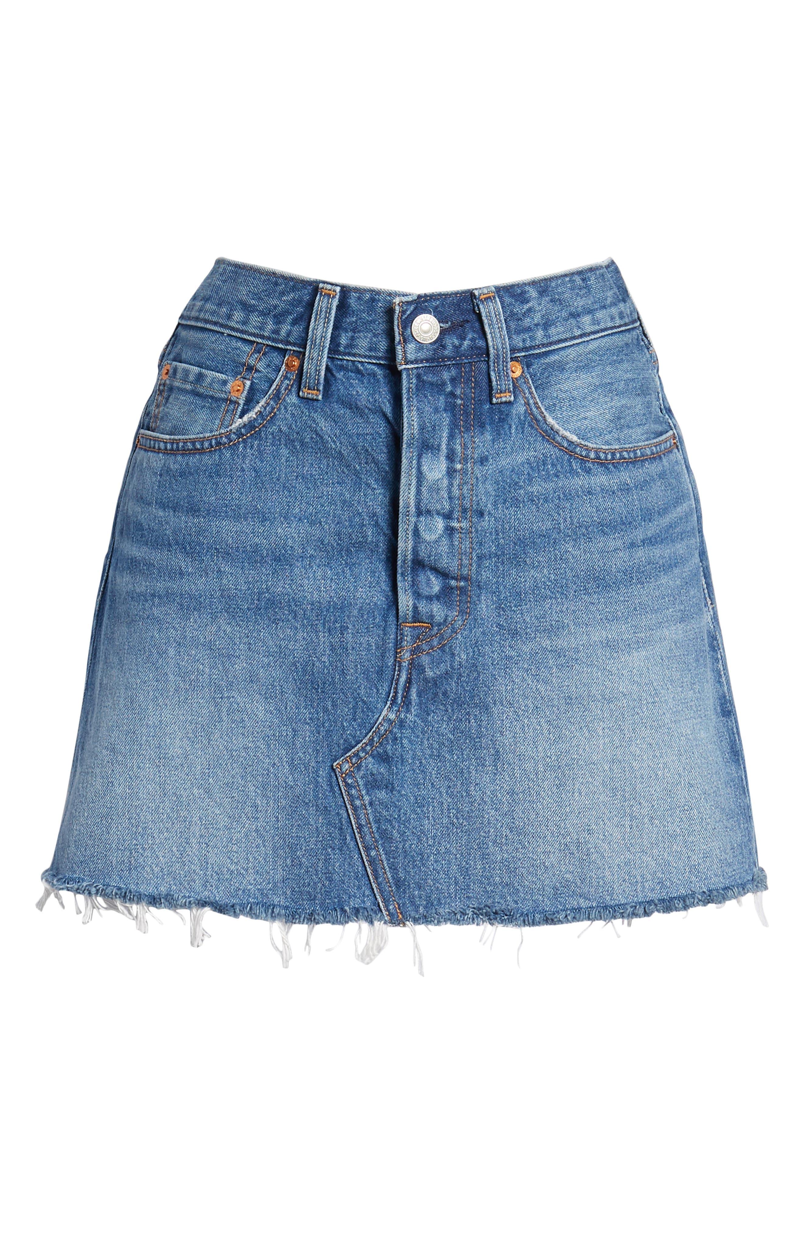 LEVI'S<SUP>®</SUP>, Deconstructed Denim Skirt, Alternate thumbnail 7, color, MIDDLE MAN